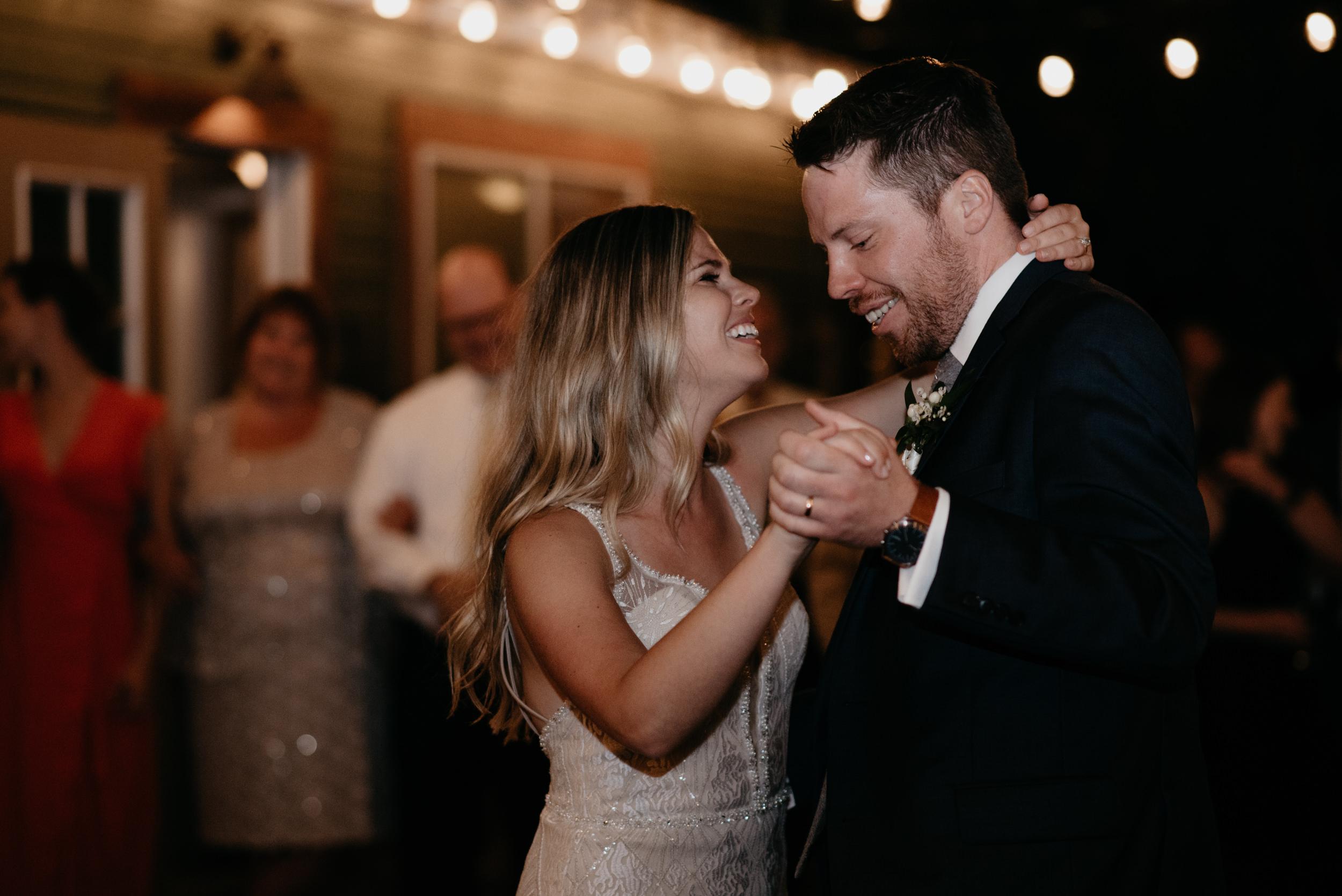 Bride and groom first dance. Three Leaf Farm wedding in Boulder, Colorado. Colorado wedding and elopement photographer. Denver wedding photographer.