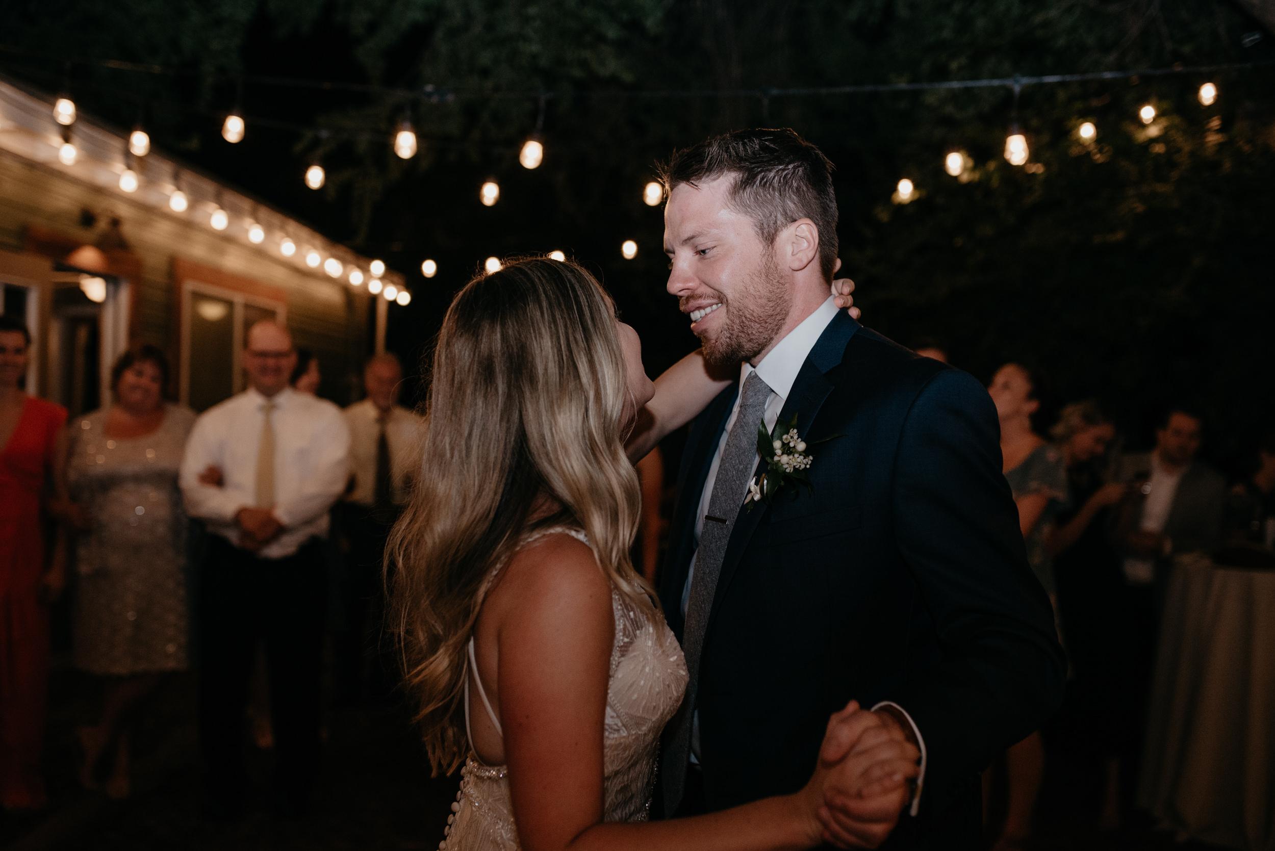 First dance at Three Leaf Farm wedding. Boulder, Colorado wedding photographer.