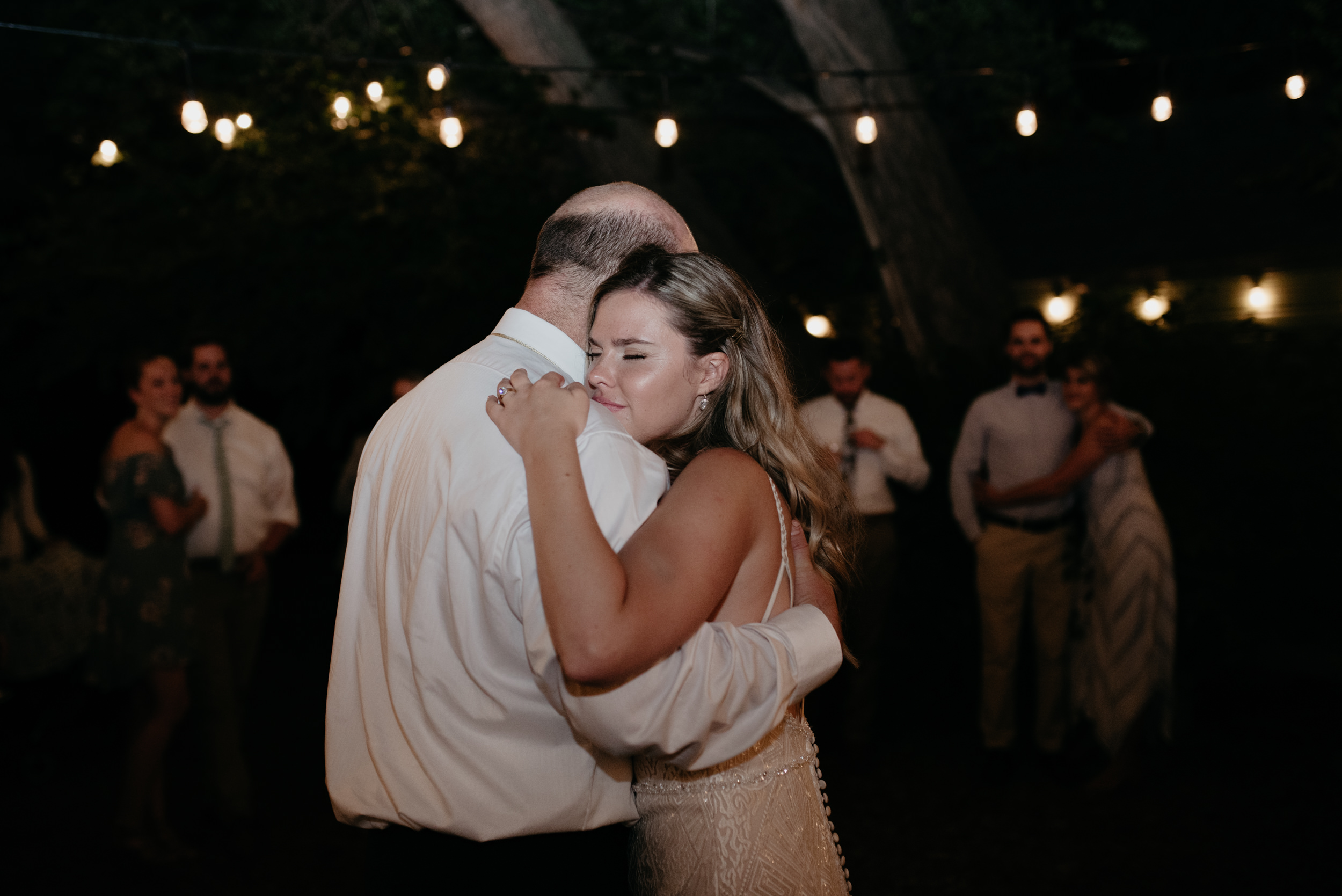 Father and daughter dance at Three Leaf Farm in Boulder, Colorado. Colorado wedding and elopement photographer. Colorado mountain wedding photographer.