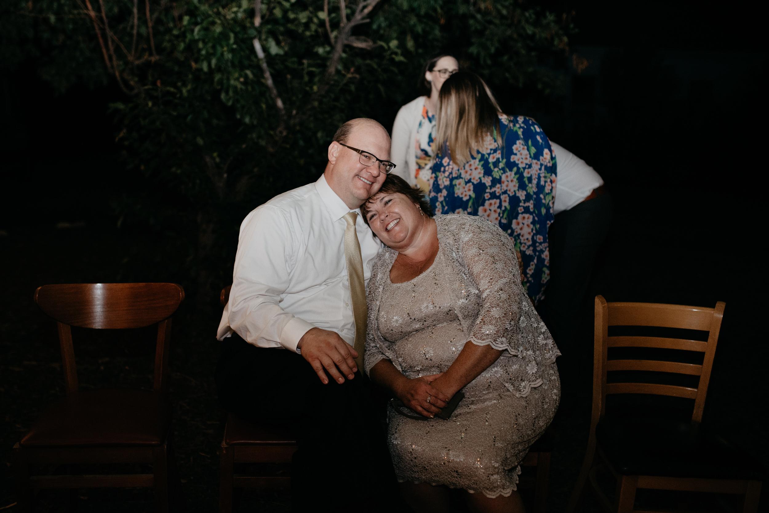 Brides parents at wedding reception. Boulder, Colorado wedding photographer.
