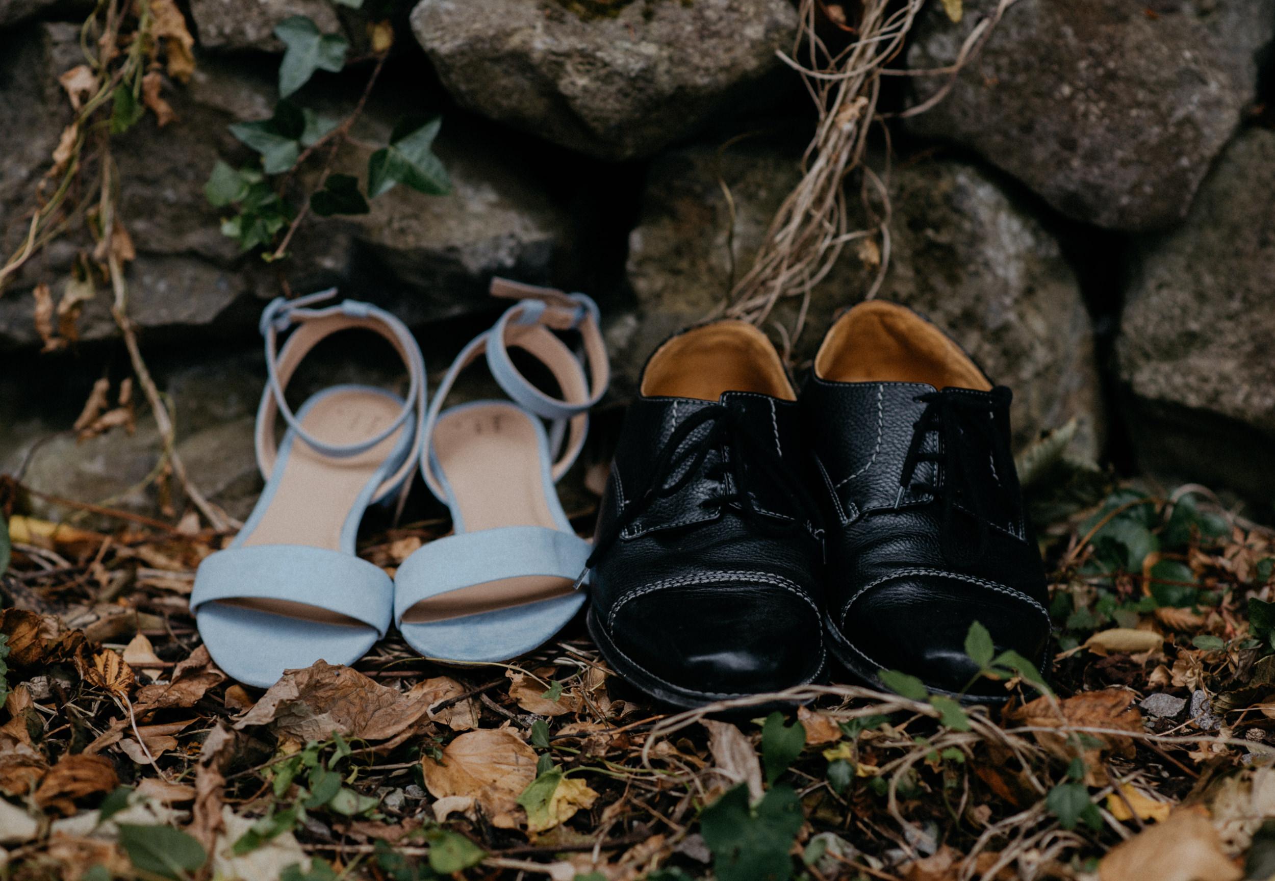 Bride and groom wedding shoes. Ireland destination wedding and elopement photographer.