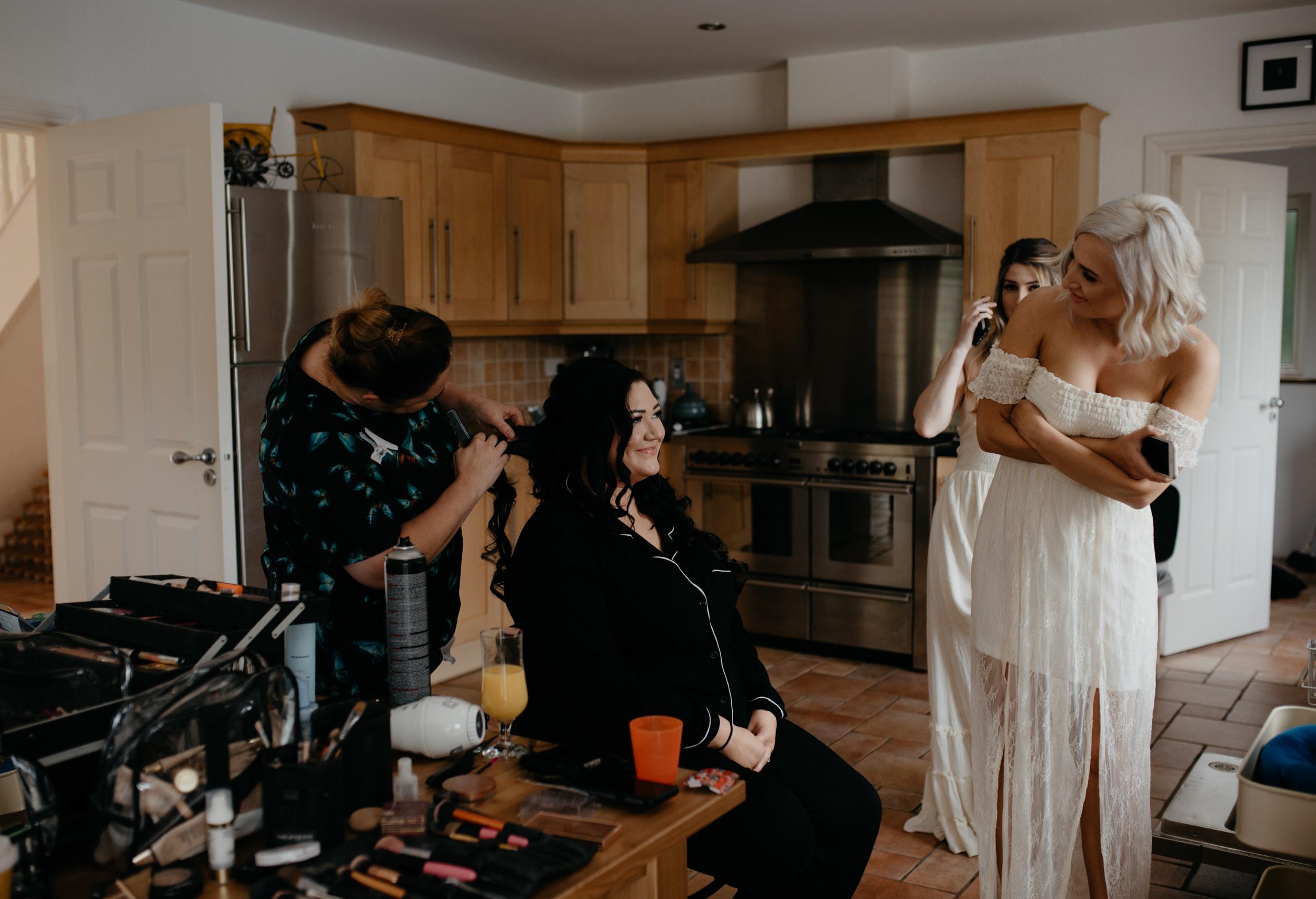 Bride getting ready. Ireland wedding photographer. County Clare destination wedding.