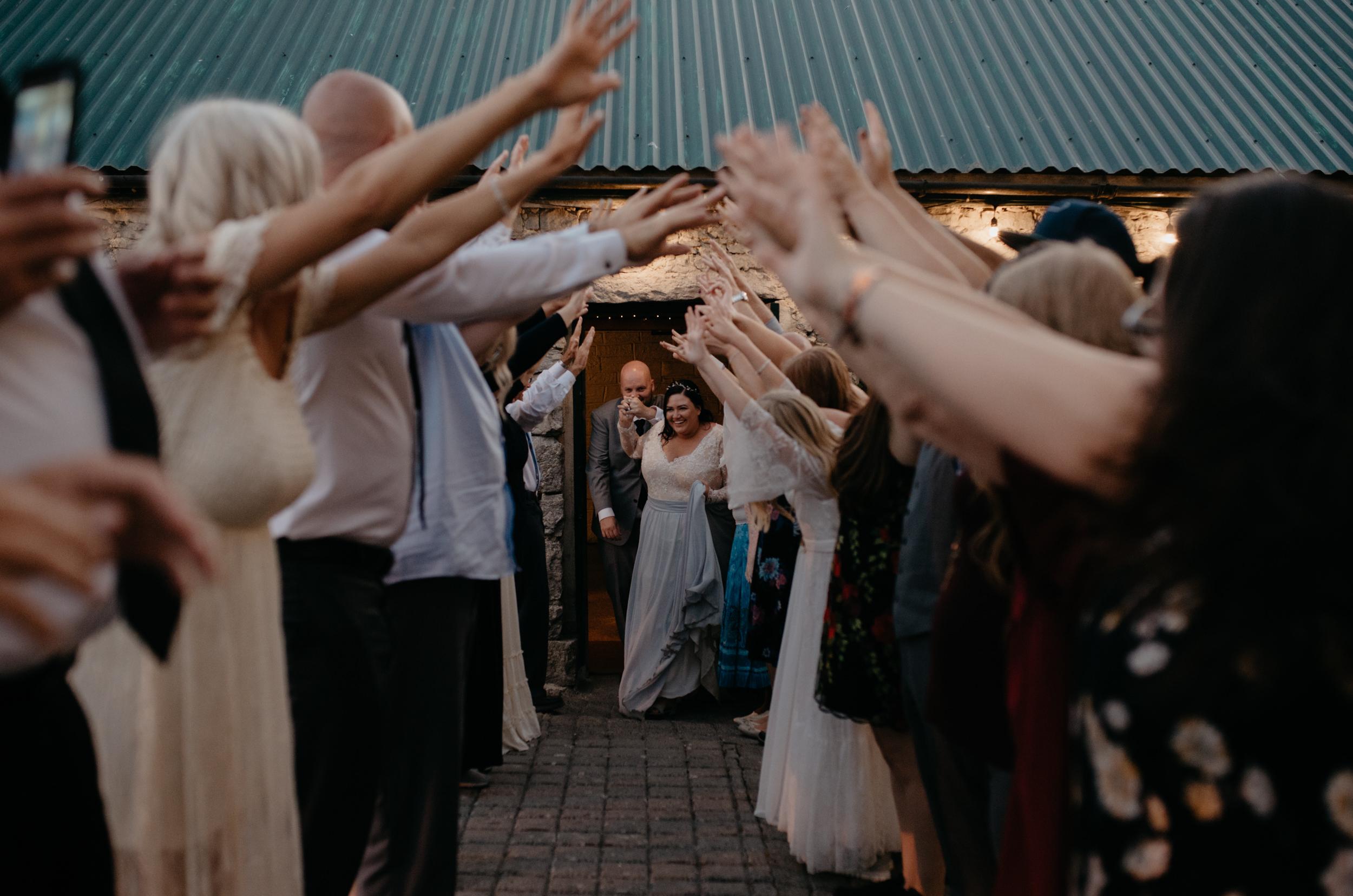 Grand exit at Ireland destination wedding. County Clare, Ireland wedding and elopement photographer.