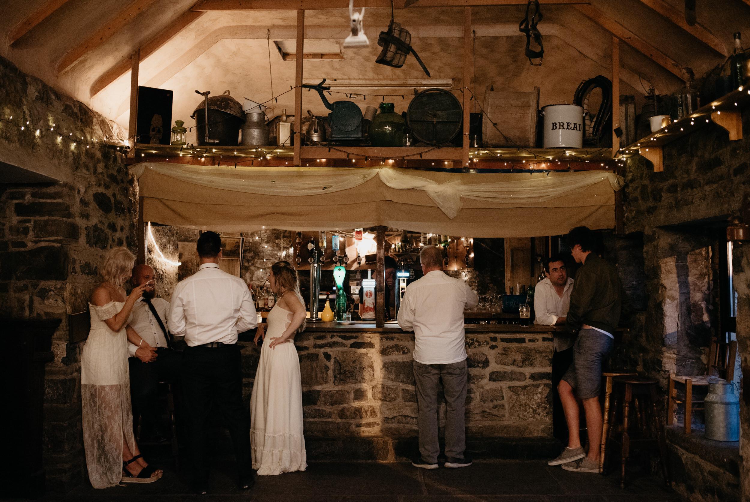 Wedding reception at Vaughan's Pub in Kilfenora. Ireland wedding photographer. County Clare elopement photographer.