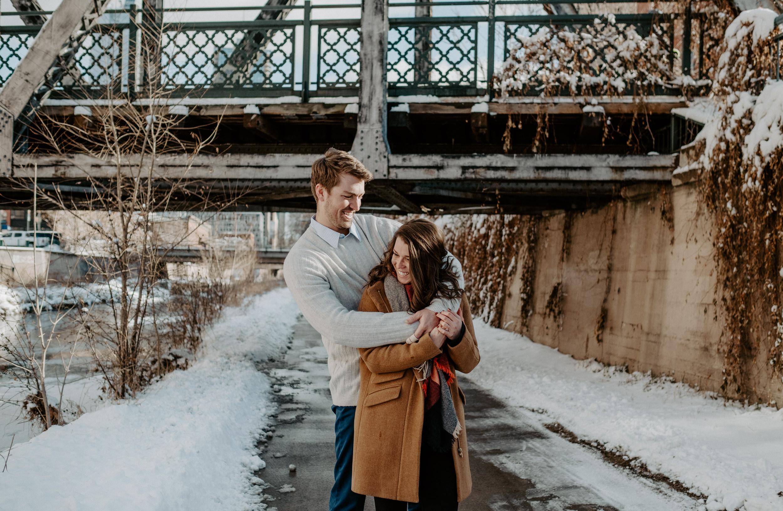 Urban engagement photo inspiration. Downtown Denver engagement session. Colorado wedding and elopement photographer.