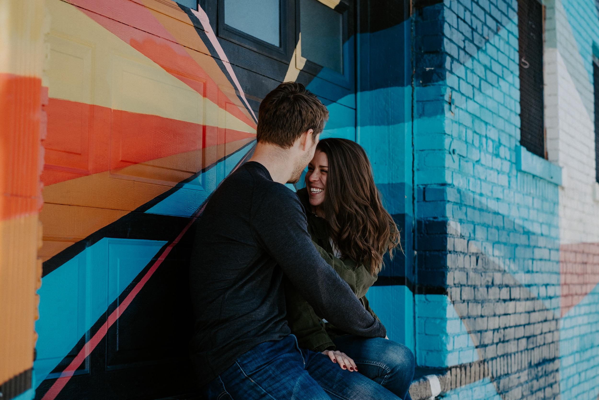 RiNo Denver engagement photos. Denver wedding photographer. Colorado engagement photography.