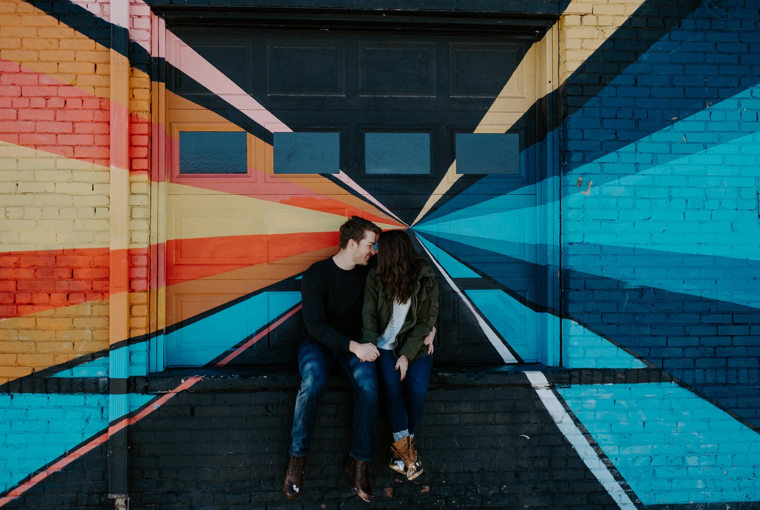 RiNo Denver urban engagement session. Colorado wedding photographer. Denver engagement photos. City engagement session inspiration.