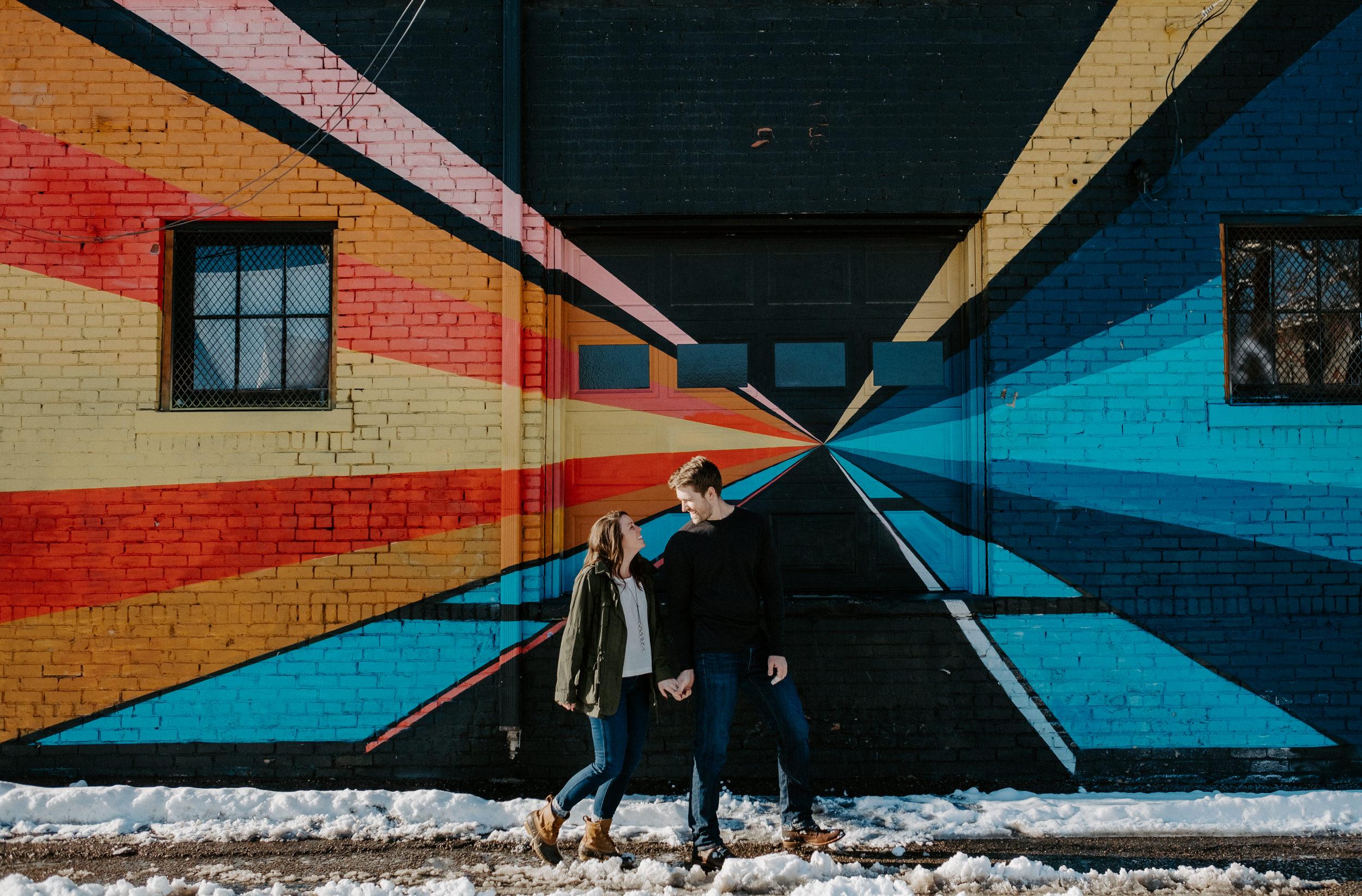 Colorado engagement session photographer. Downtown Denver engagement photos. Urban city engagement shoot inspiration.