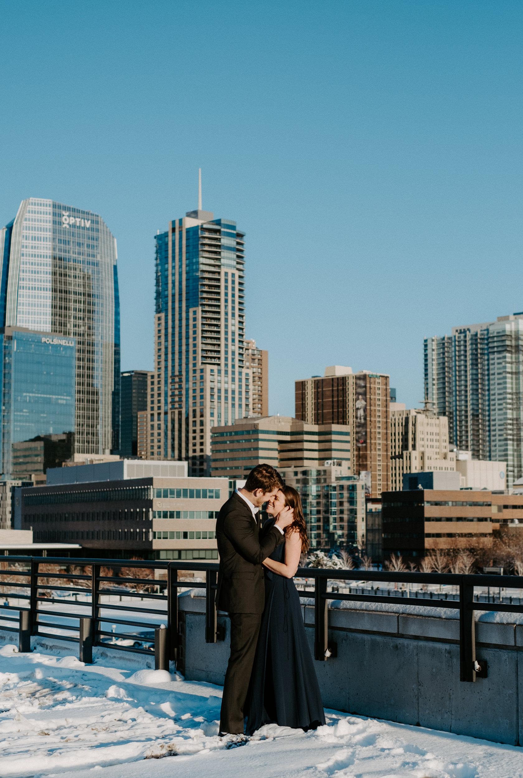 Denver, Colorado engagement photographer. Downtown urban engagement session. Rooftop engagement photos in Denver.