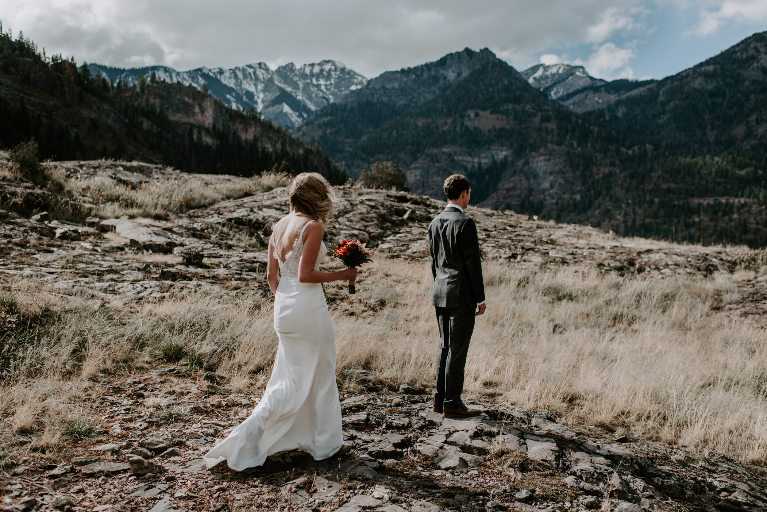 Bride and groom first look. Ouray, Colorado adventure elopement.