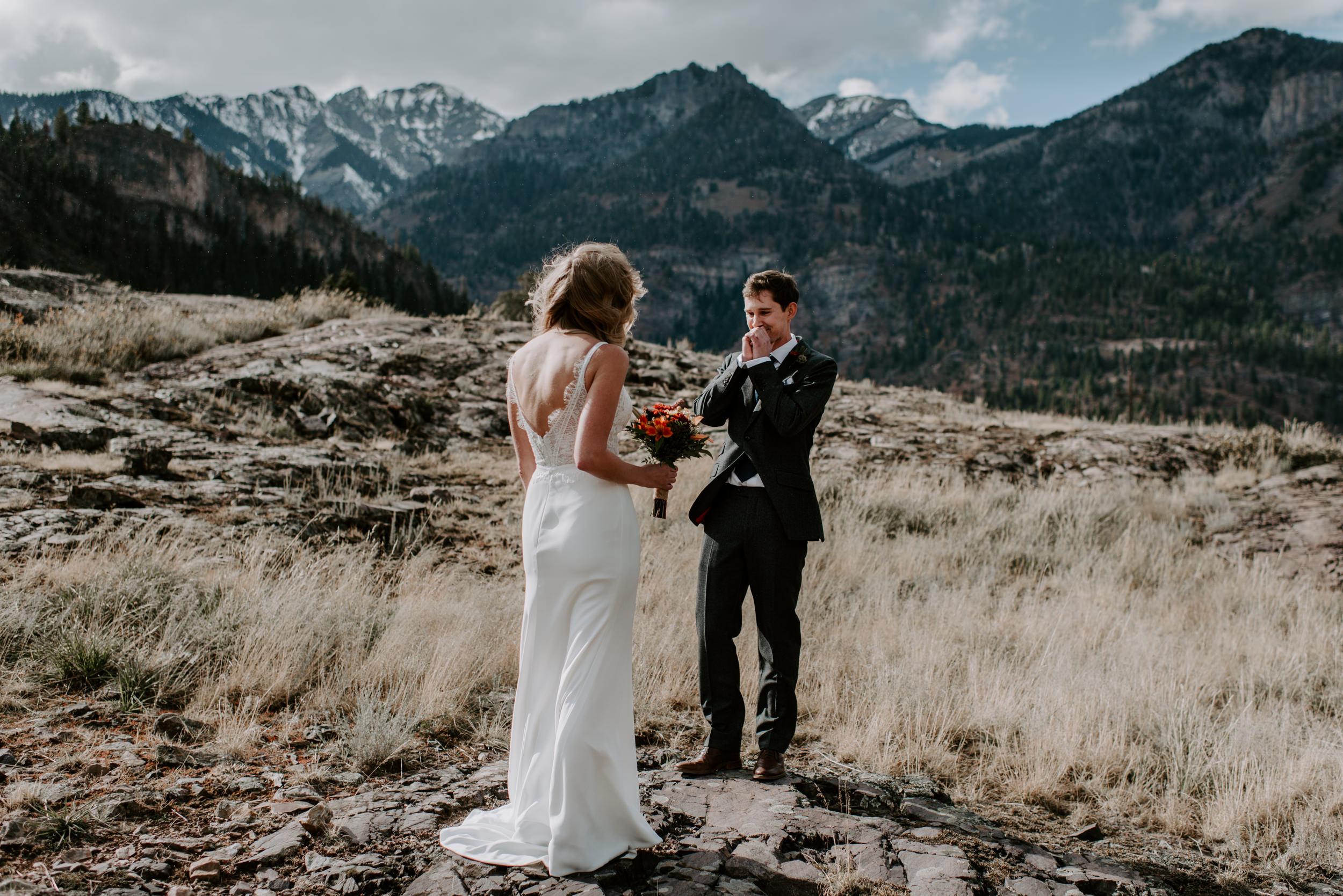 First look, Ouray elopement. Colorado wedding photographer.