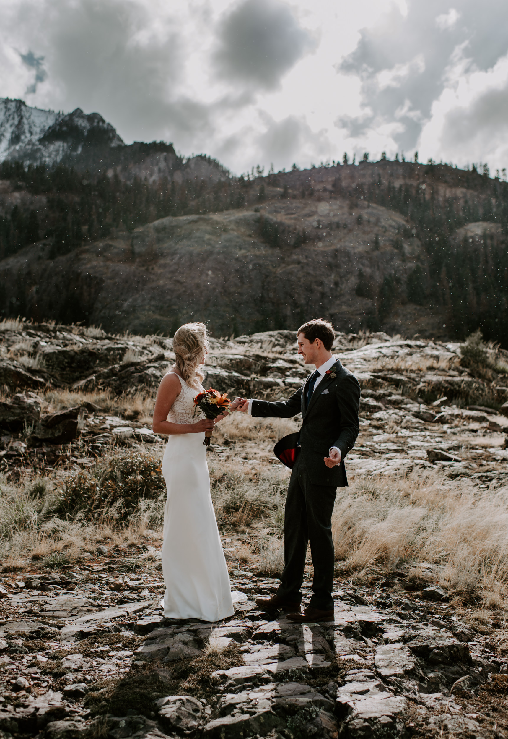 Ouray, Colorado adventure elopement. Bride and groom first look. Telluride wedding photographer.