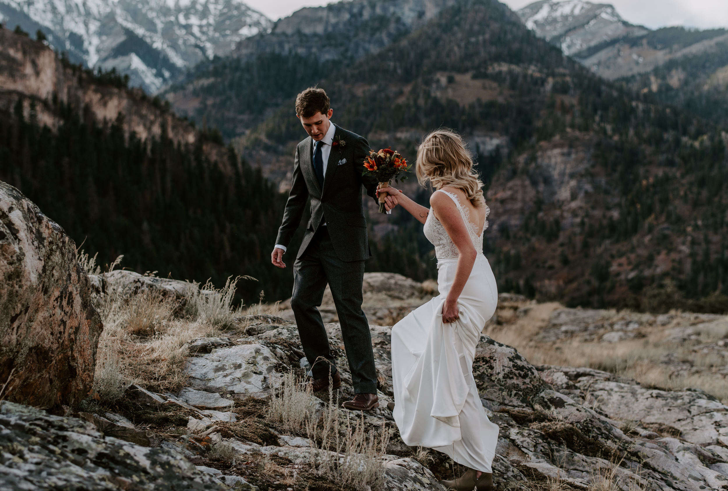 Hiking mountain elopement in Ouray, Colorado.