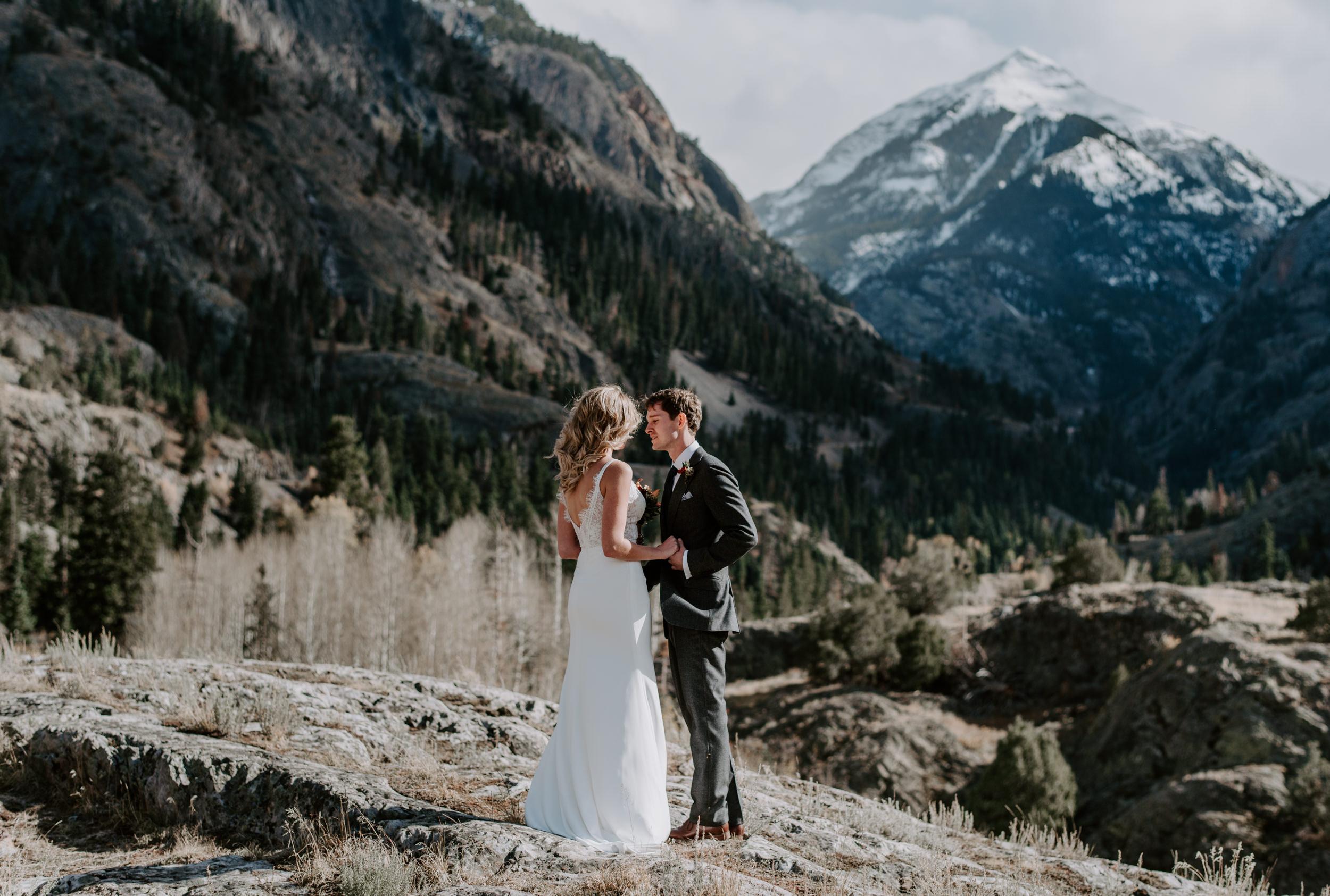 Hiking mountain elopement in Colorado. Ouray, Colorado wedding photographer.