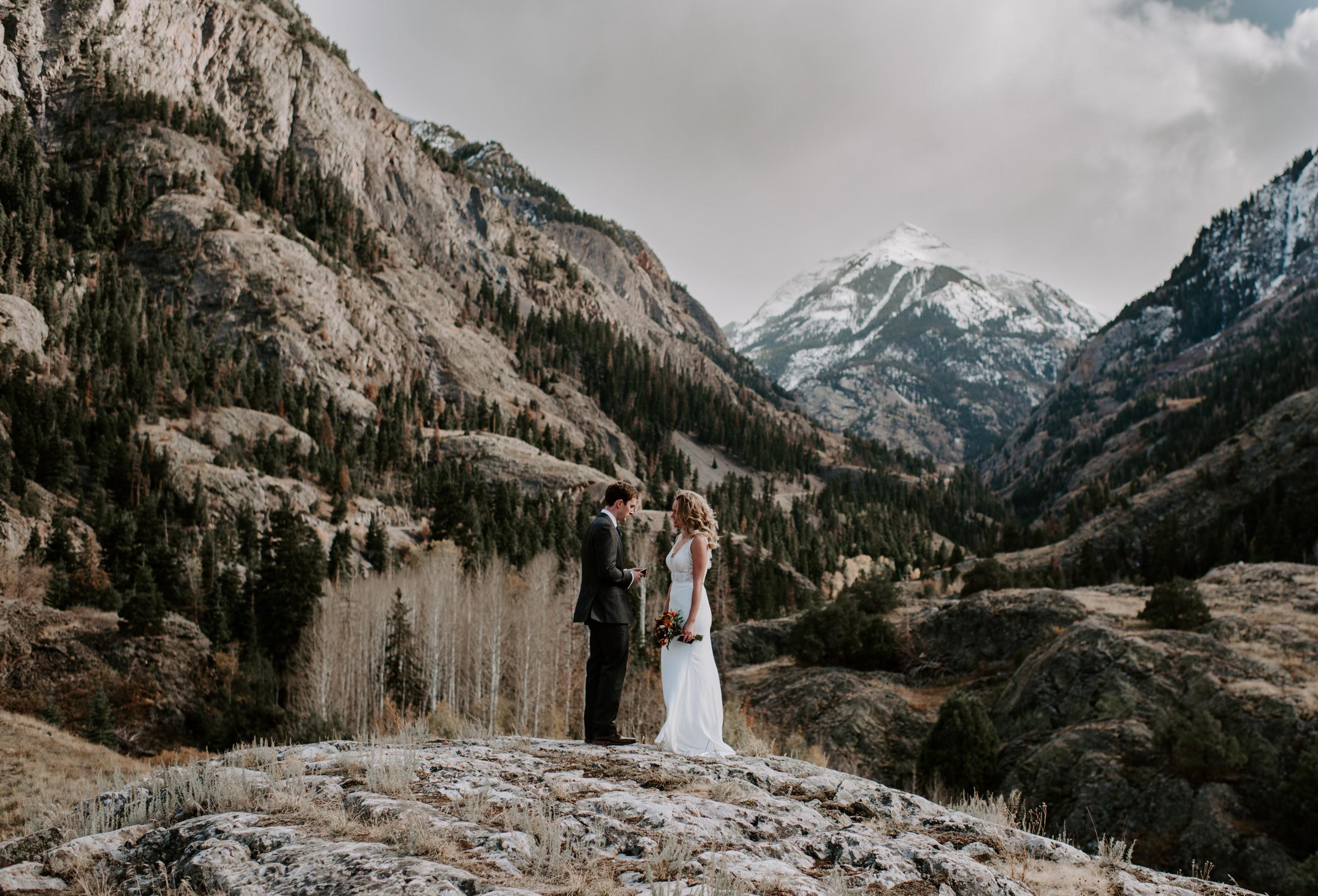 Wedding ceremony in Telluride, Colorado. Ouray elopement and wedding photographer. Colorado mountain elopement.