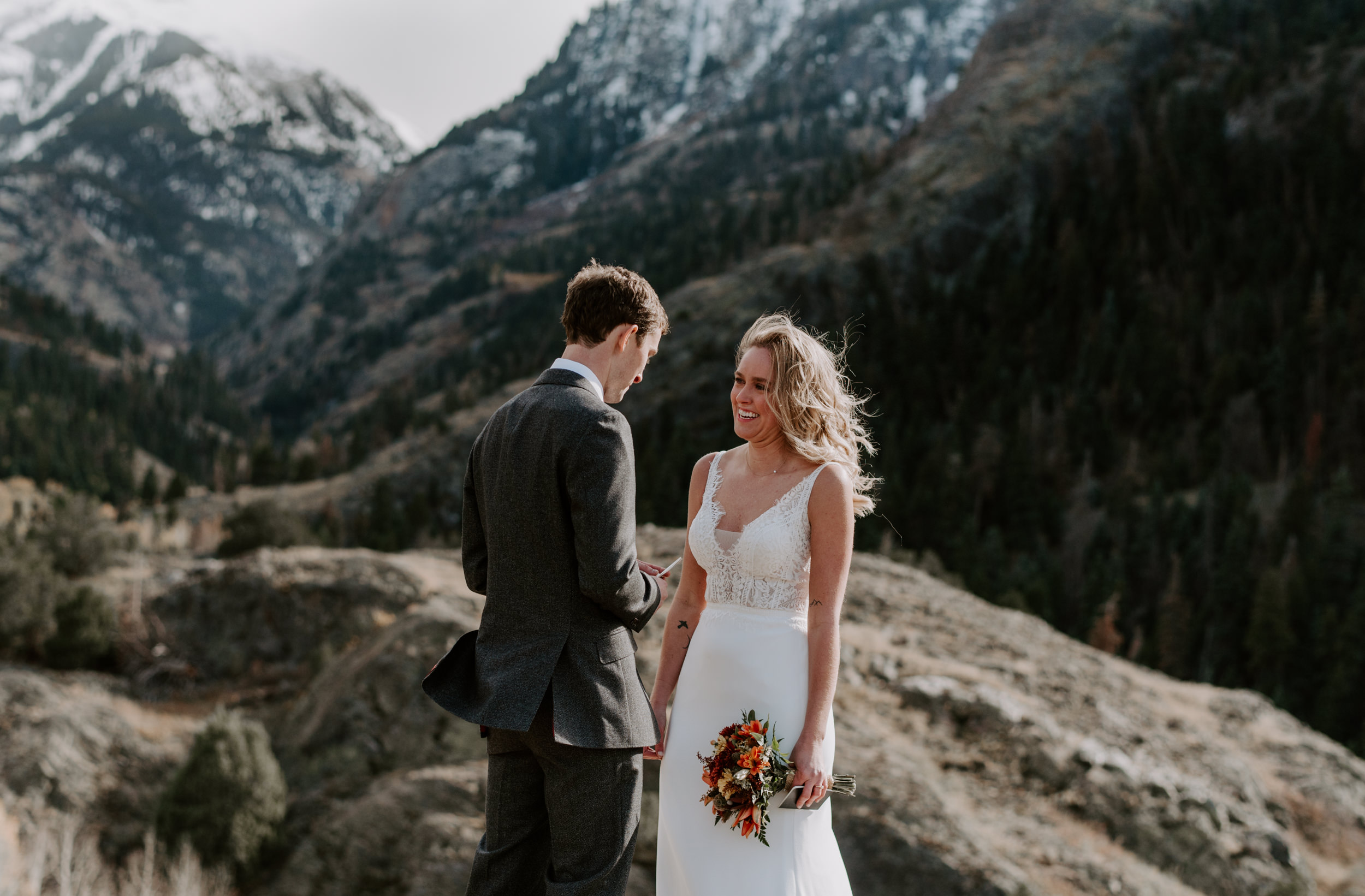 Ouray, Colorado intimate elopement. Wedding ceremony in the mountains in Ouray, Colorado.
