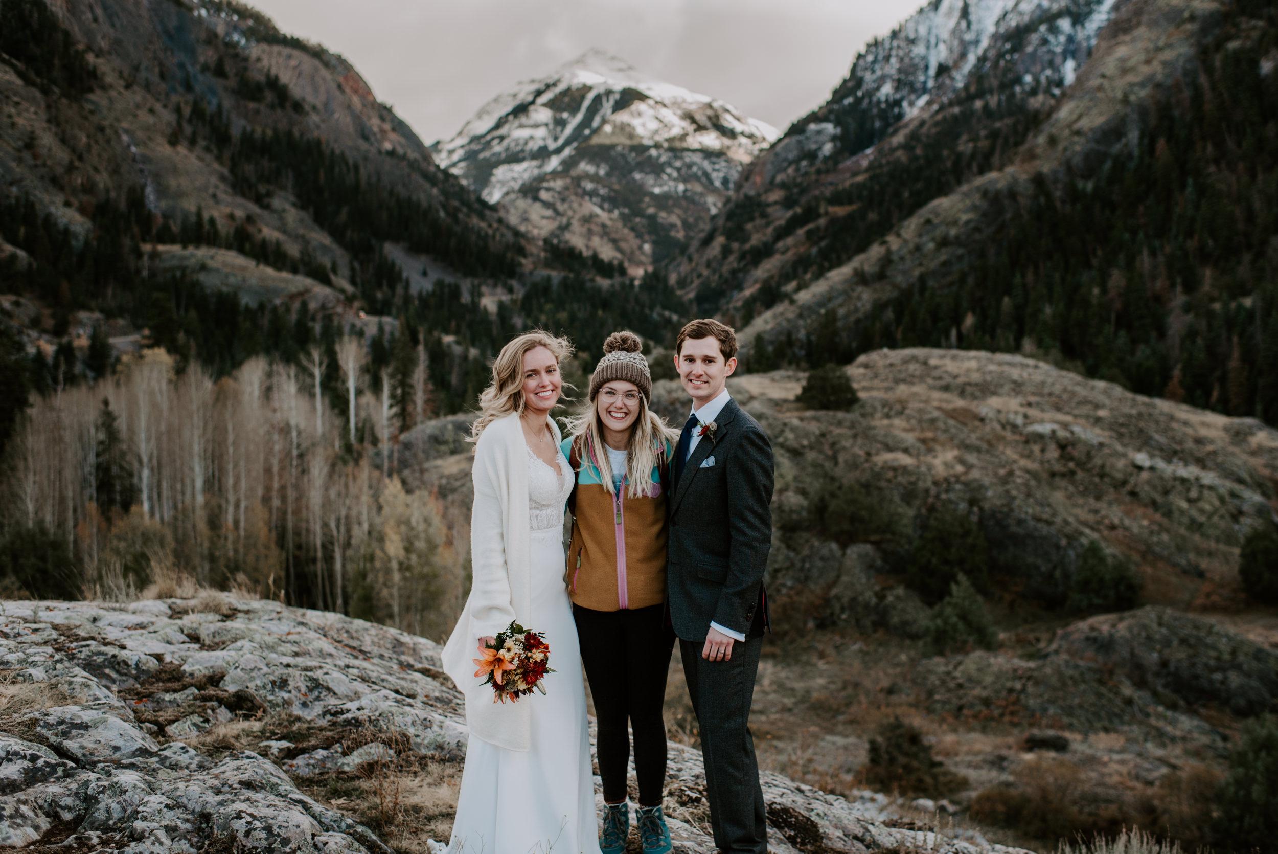 Colorado elopement photographer. Denver wedding photographer. Telluride, Colorado adventure elopement.