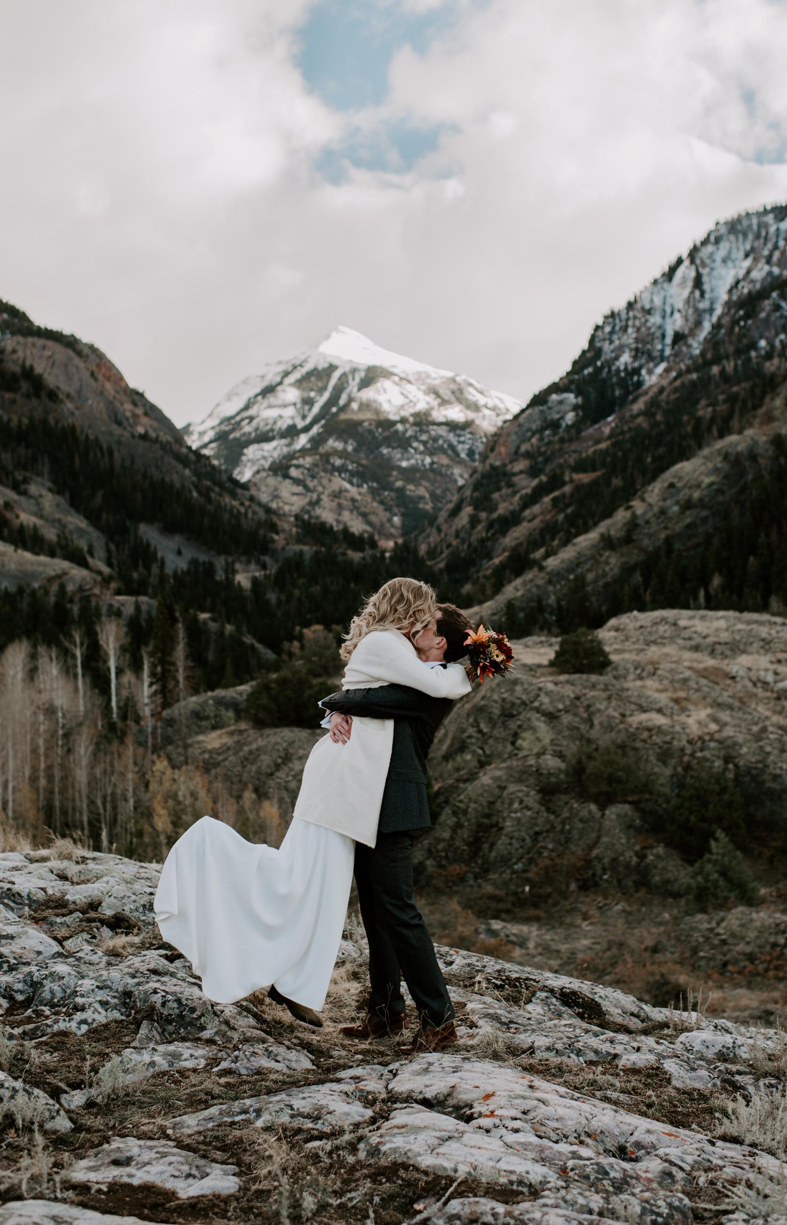 Ouray, Colorado adventure elopement. Colorado mountain wedding photographer. Ouray elopement locations.