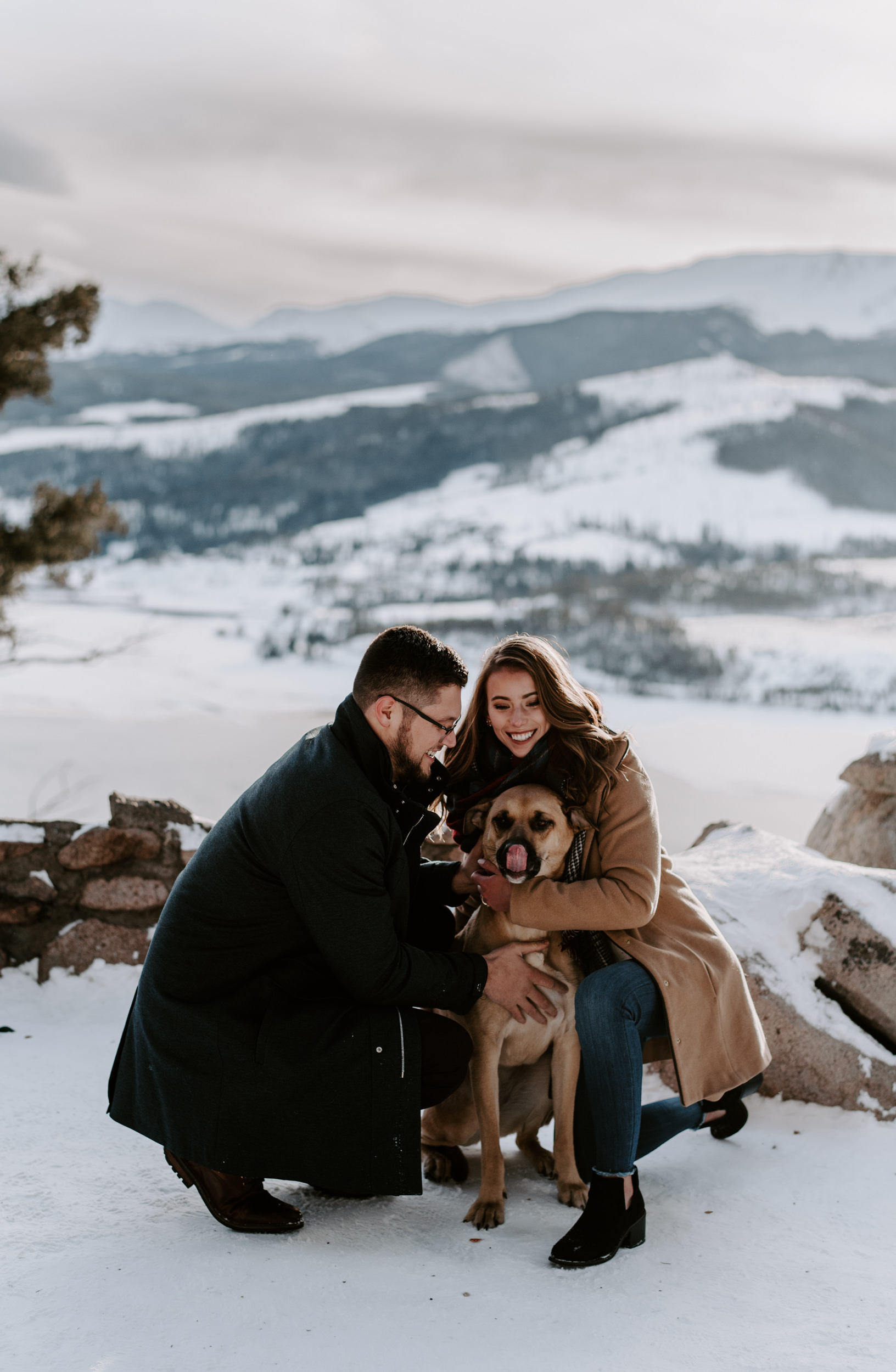 Winter engagement session at Sapphire Point in Breckenridge, Colorado.
