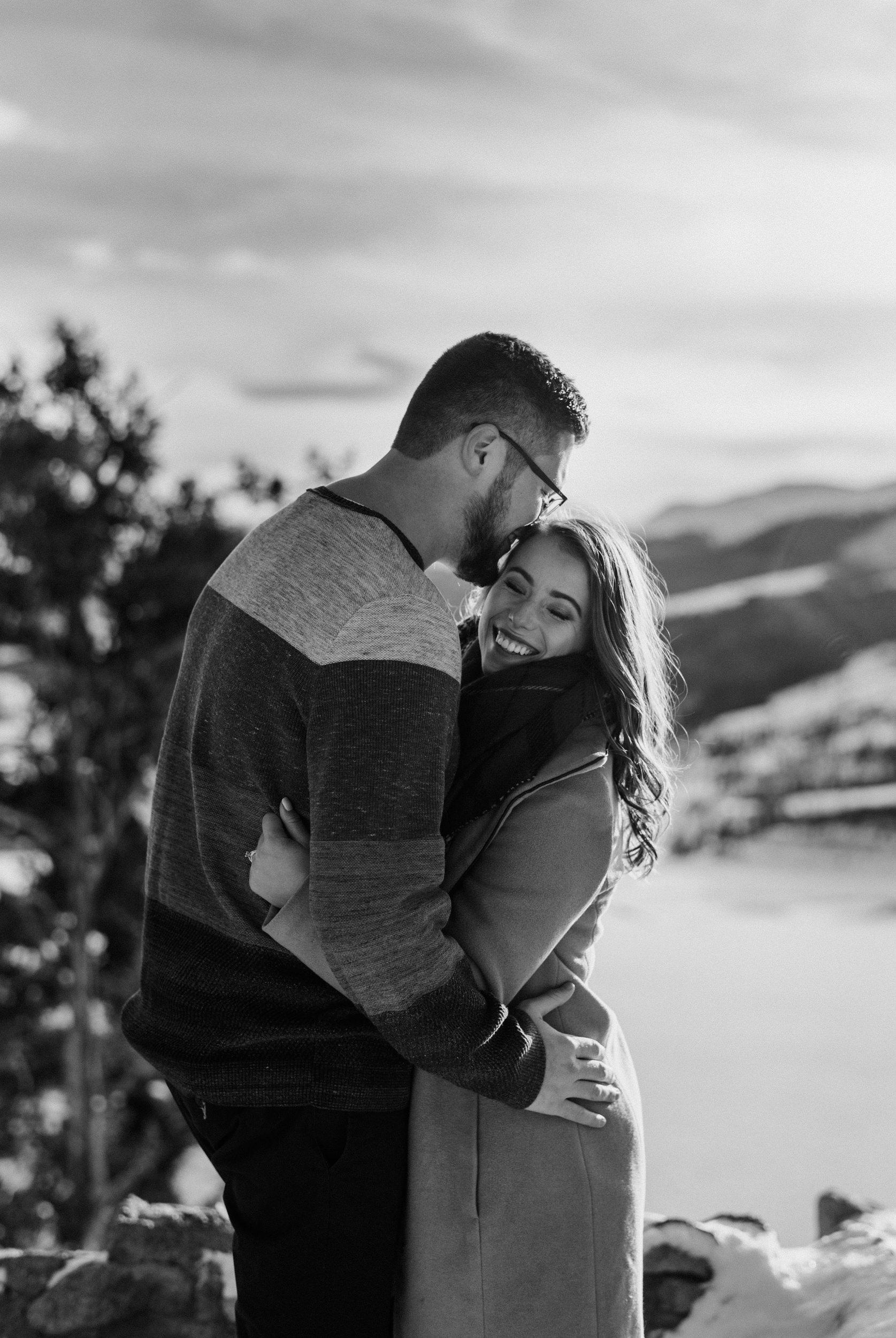 Sapphire Point winter engagement photos. Colorado wedding photographer.
