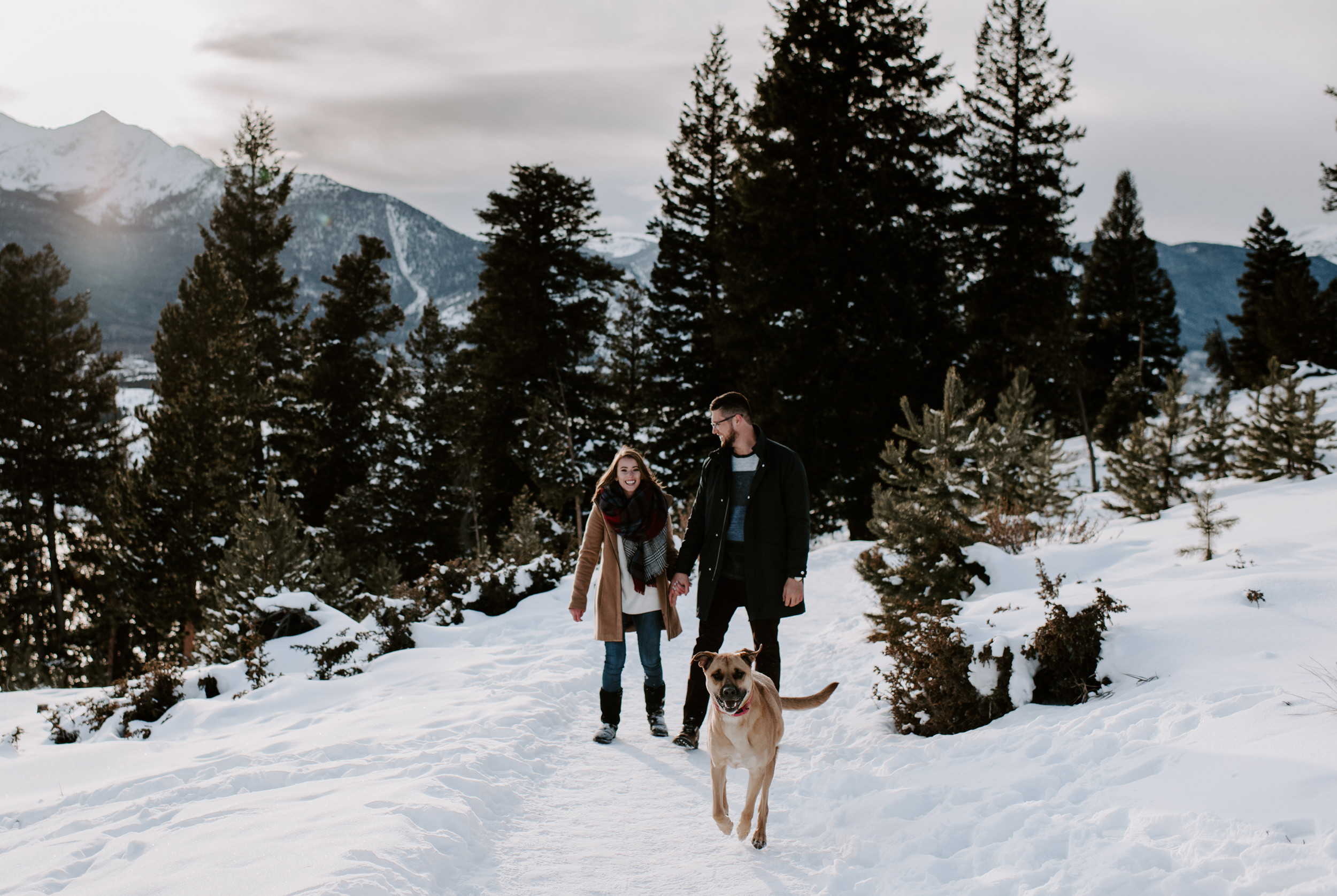 Sapphire Point Overlook engagement session photographer. Winter engagement session in Breckenridge, Colorado.