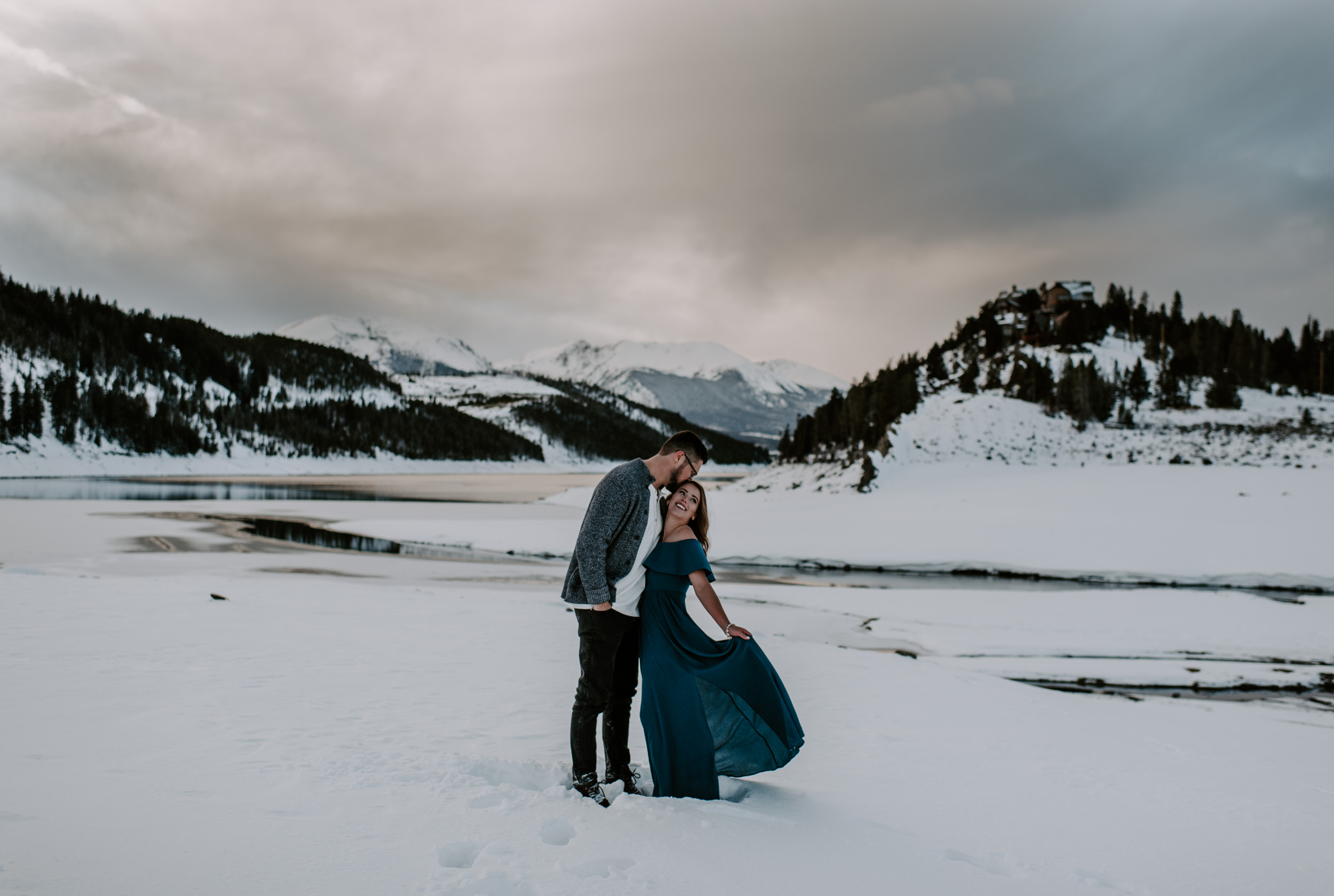Winter engagement session photos in Breckenridge, Colorado. Lake Dillon sunset engagement photography.