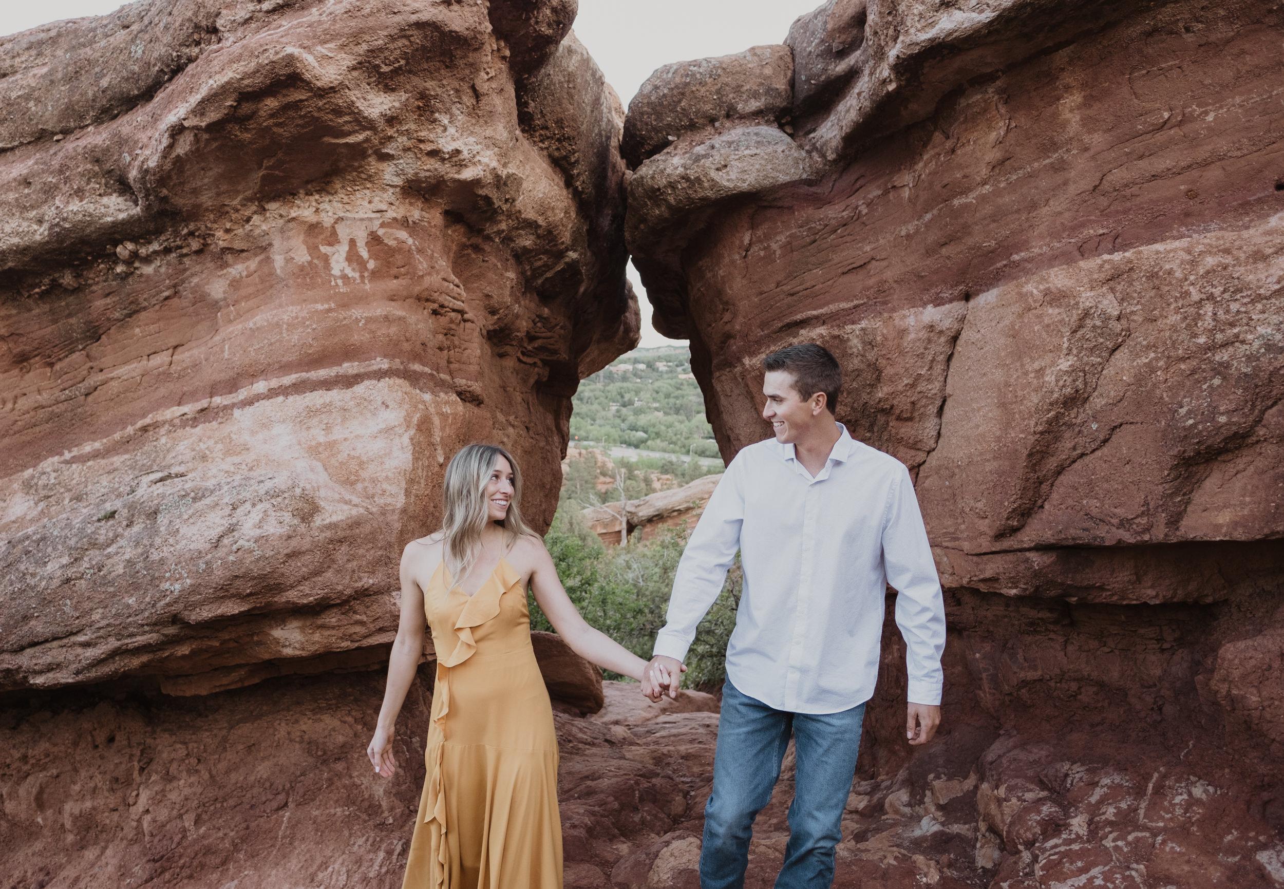 Colorado engagement session photographer. Colorado Springs engagement photos. Garden of the Gods engagement session photography.