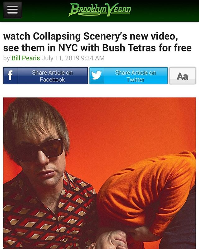 "@brooklynvegan has shared @collapsingscenery's new video for ""St Seraphim Redux"" and announced details of their NYC album release party with post-punk legends BUSH TETRAS on Friday July 19th at Tompkins Square Park. Its FREE and runs 2-6pm. Link in bio #nyc #nycmusic #bushtetras #tompkinssquarepark #nyclivemusic"