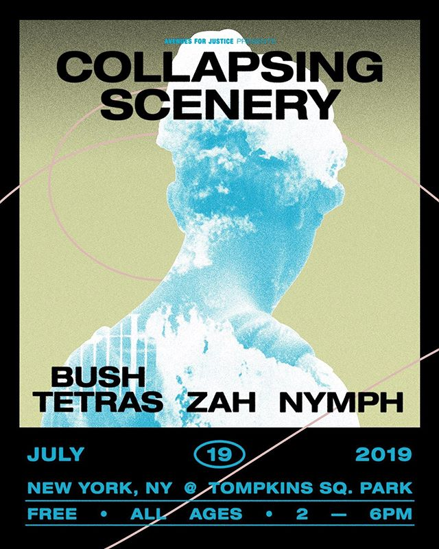 On Friday July 19th @collapsingscenery celebrates the release of 'Stress Positions' at NYC 's Tompkins Square Park with BUSH TETRAS. Its a day show from 2-6 pm and its FREE. also playing: @zah and @bandofnymph. The event is presented by nyc non-profit @avenuesforjustice with donations going to their great cause. #nycevents #freenycevents #bushtetras #eastvillagenyc #eastvillage #nycmusic #nycmusicscene