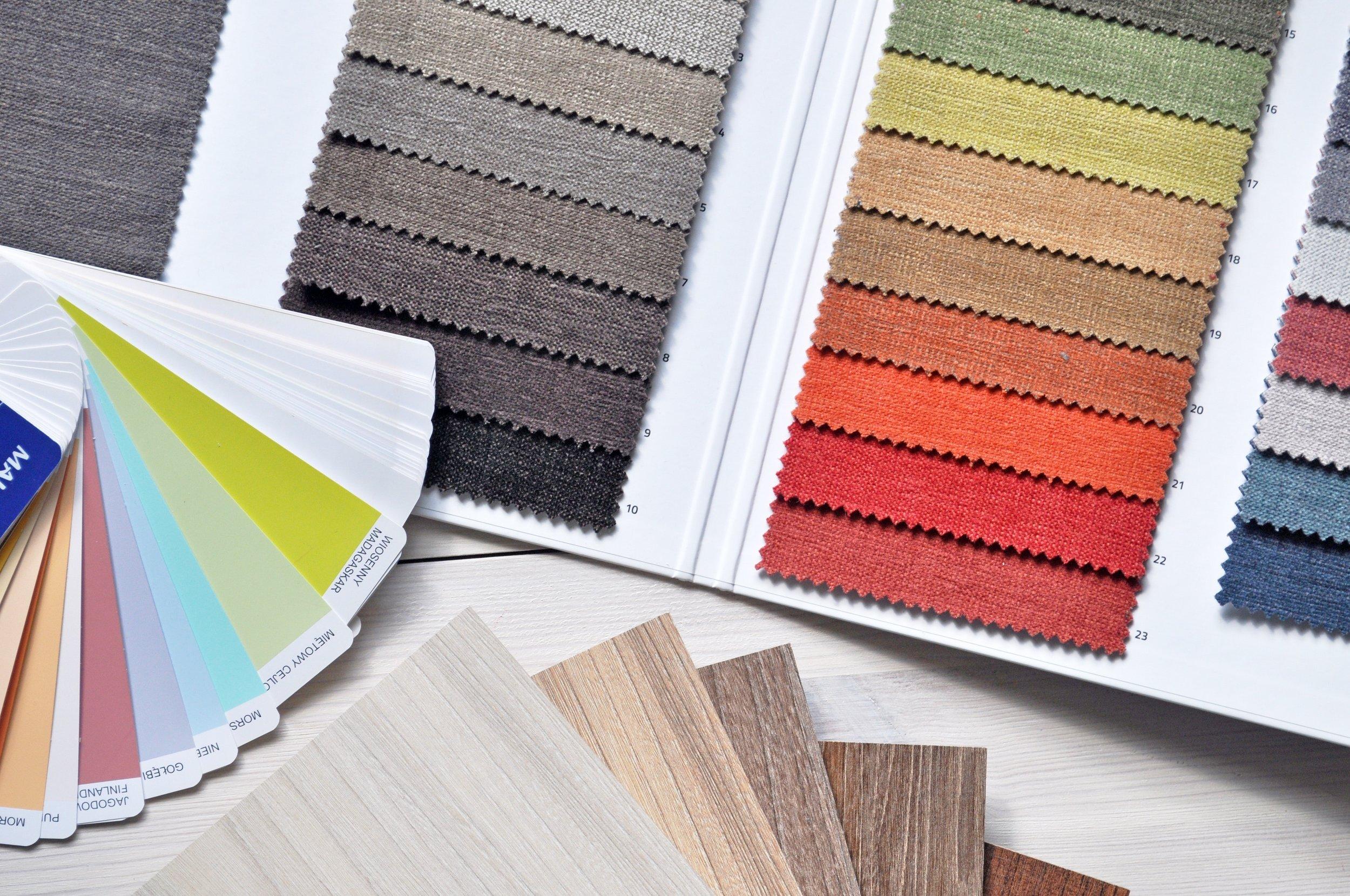 Designers color palettes, flooring, color swatches