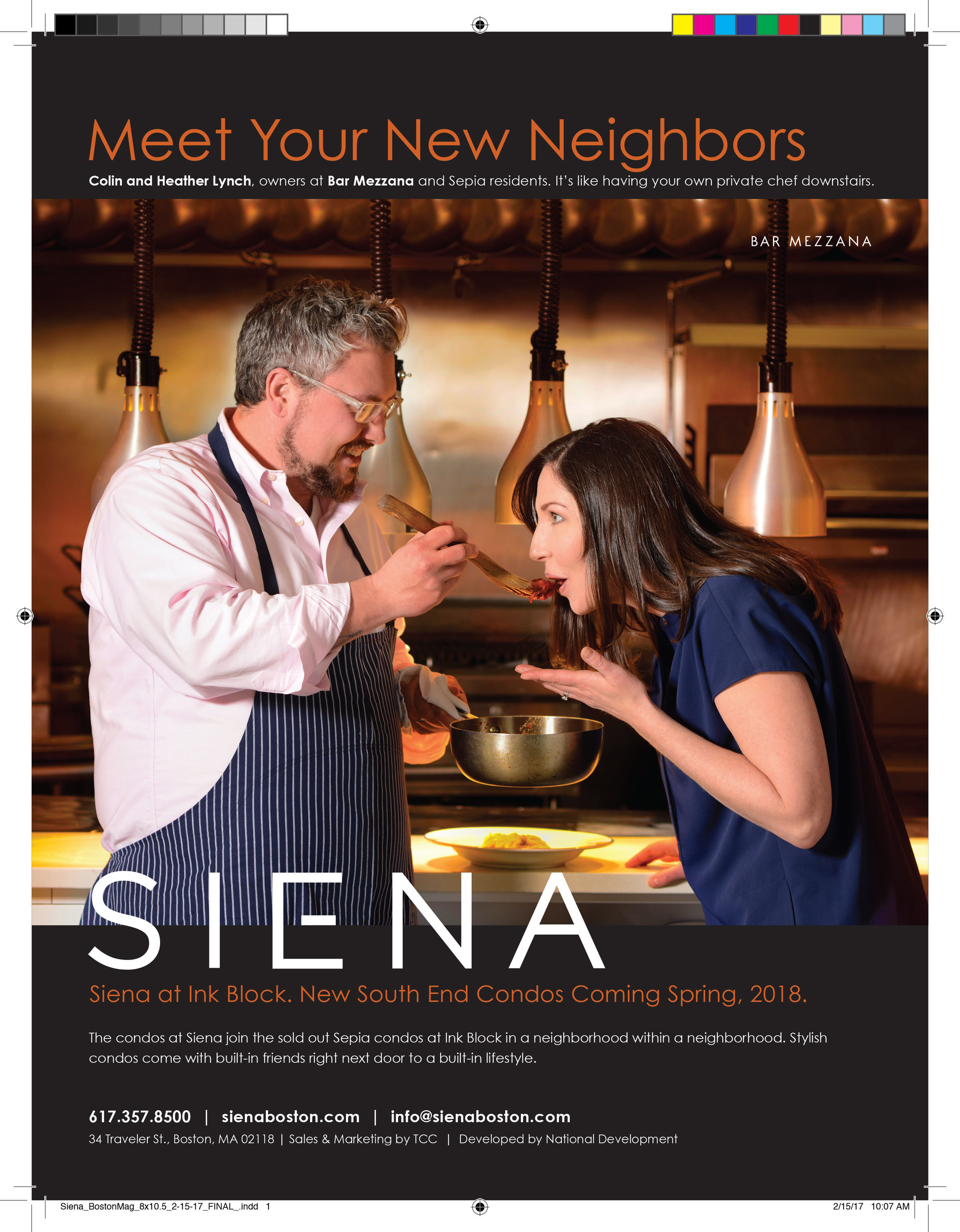 Boston Magazine Ad - Siena at Ink Block Boston  Meet your neighbors ad campaign for development company Siena