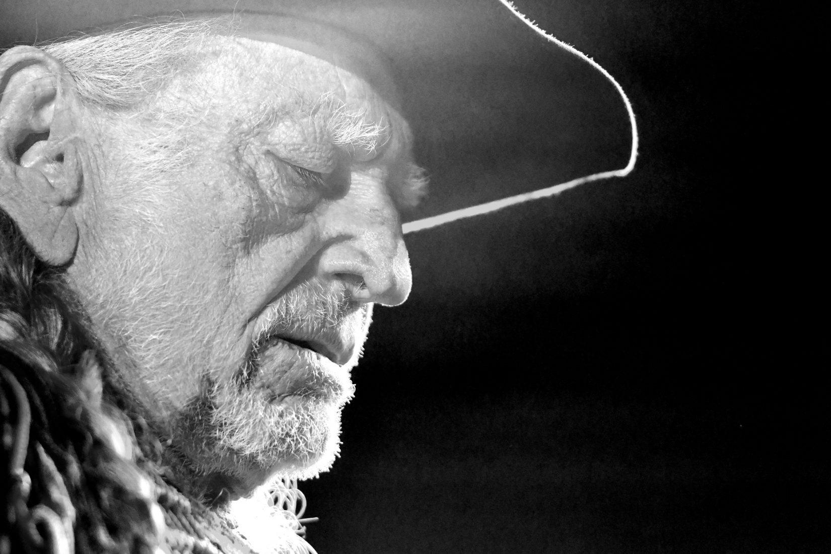 """Country music legend and legalization activist Willie Nelson plays a show at Humphreys Concerts by the Bay in San Diego in October 2016. (photo by Vince Chandler, The Denver Post; published in  The Cannabist,  """"Willie Nelson: The Outlaw Country legend reflects on his personal cannabis history"""")"""