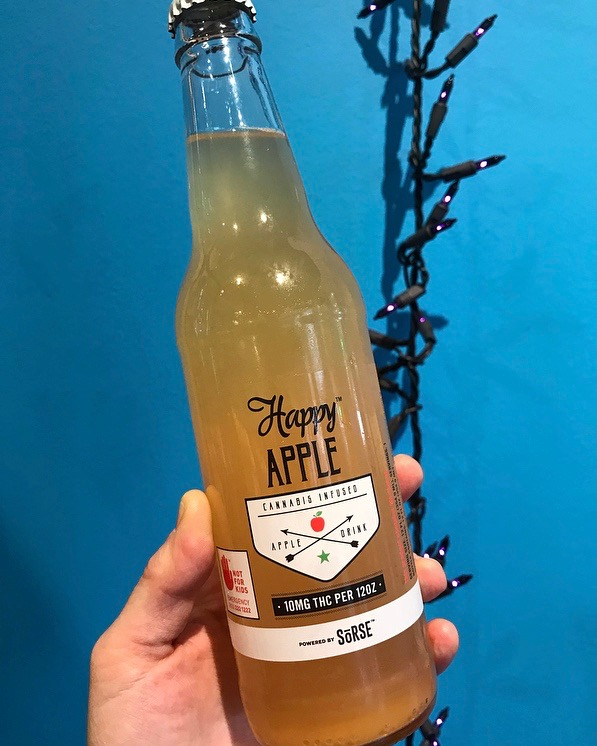 Happy Apple cider ($8) - 'Tis the season for spiced cider, cold or hot … why not with 10mg THC perfectly blended right in?