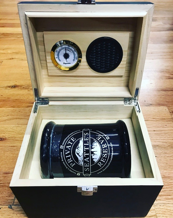 Seattle's Private Reserve 28gin limited edition curing box ($399) - An ounce of crystal-covered, fluffy, flavorful flower in an opaque jar, set inside its own wooden curing box, complete with humidor. For the connoisseur who requires the best and most novel presentation of cannabis around.