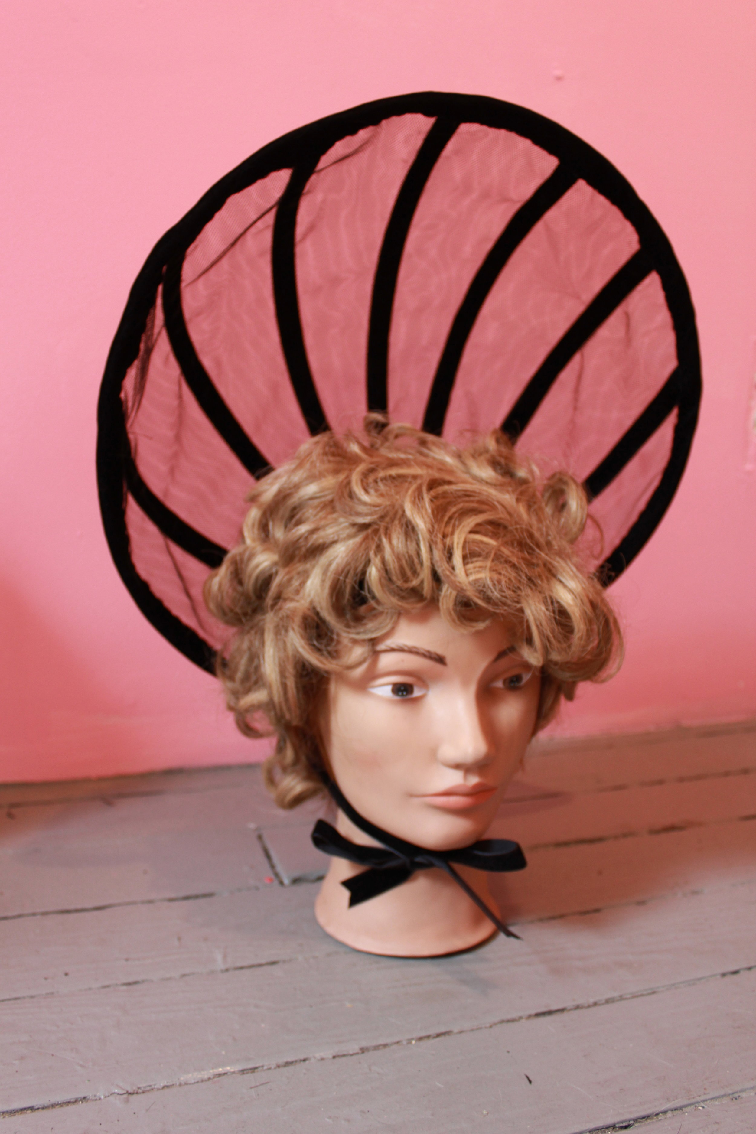 2013 Leather, Velvet, and Tulle custom bonnet in collaboration with Daughters of Devotion