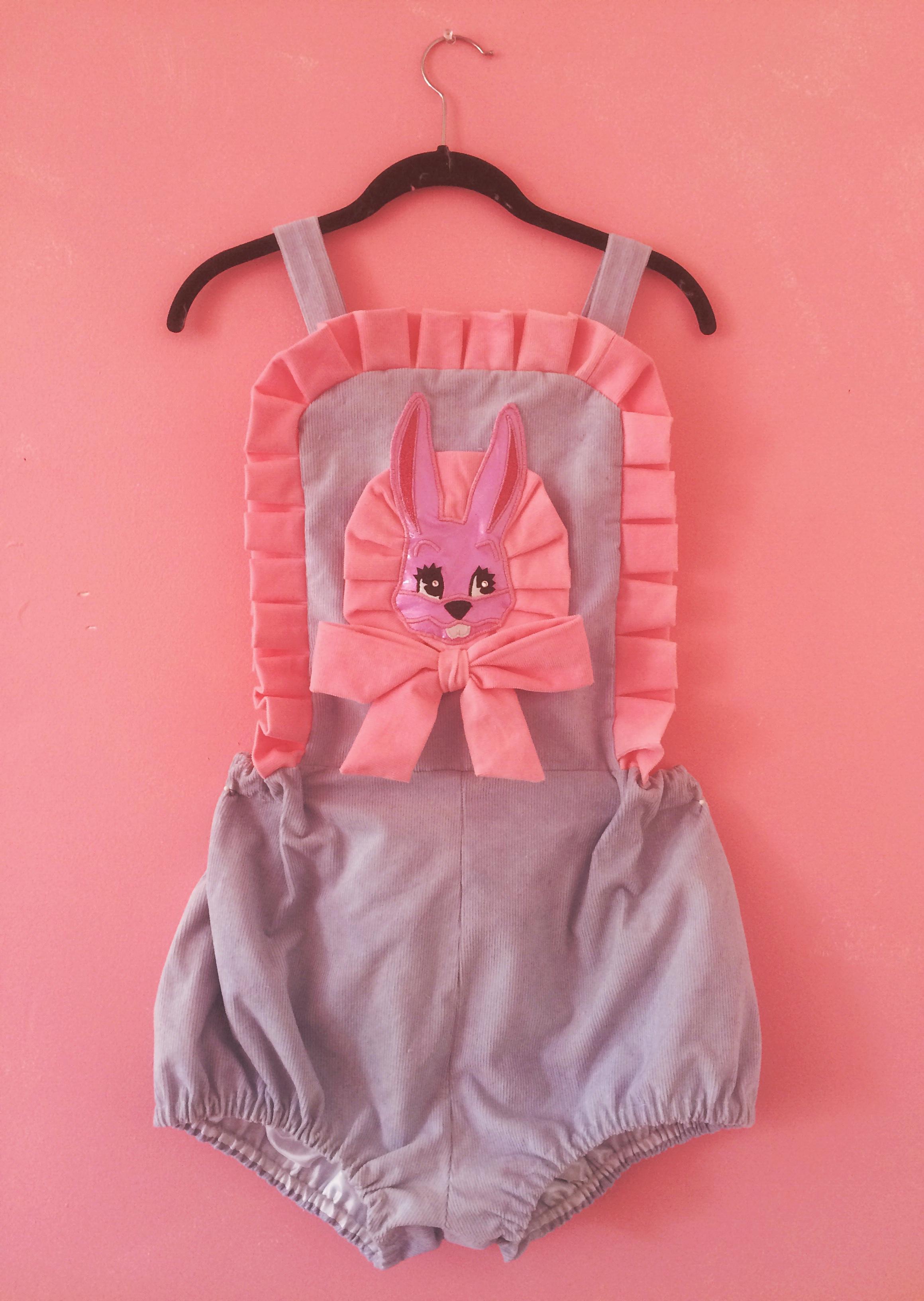 2016 Hand Dyed Corduroy Bunny Applique Romper (custom order)