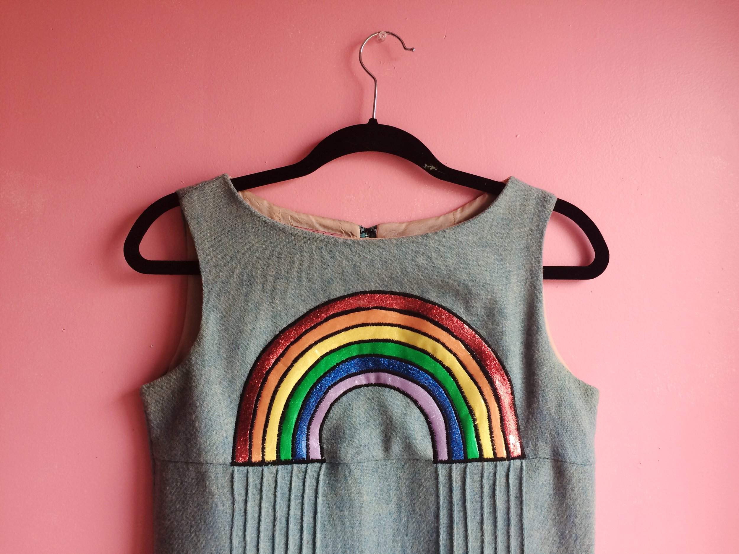 2017 Rainbow applique on vintage garment