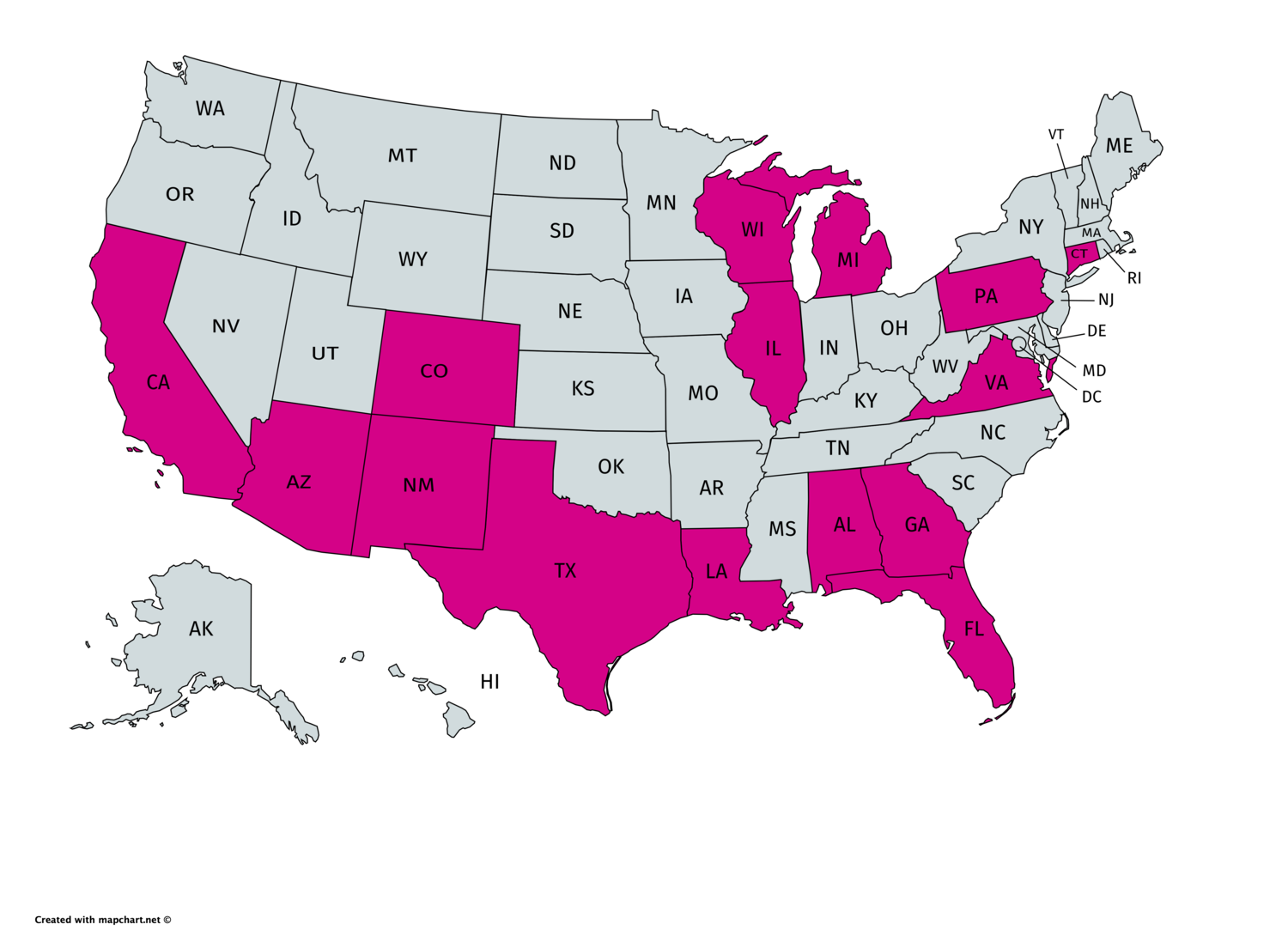 LGBTQ Freedom Fund posted bond for people awaiting case disposition in states highlighted magenta.