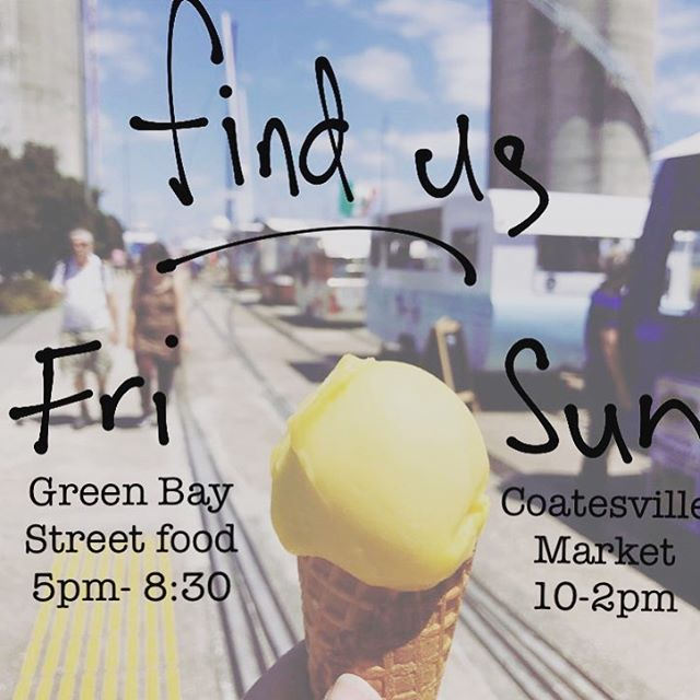 Here's where to catch us this weekend!! . . . . . #weekend #friday #saturday #sunday #market #greenbay #coatesvillemarket #findus #icecream #sorbet #vintageicecreamcaravan #vintageicecreamtruck #foodcaravan #foodie #foodtrucknz #aucklandeats #themarilynnz
