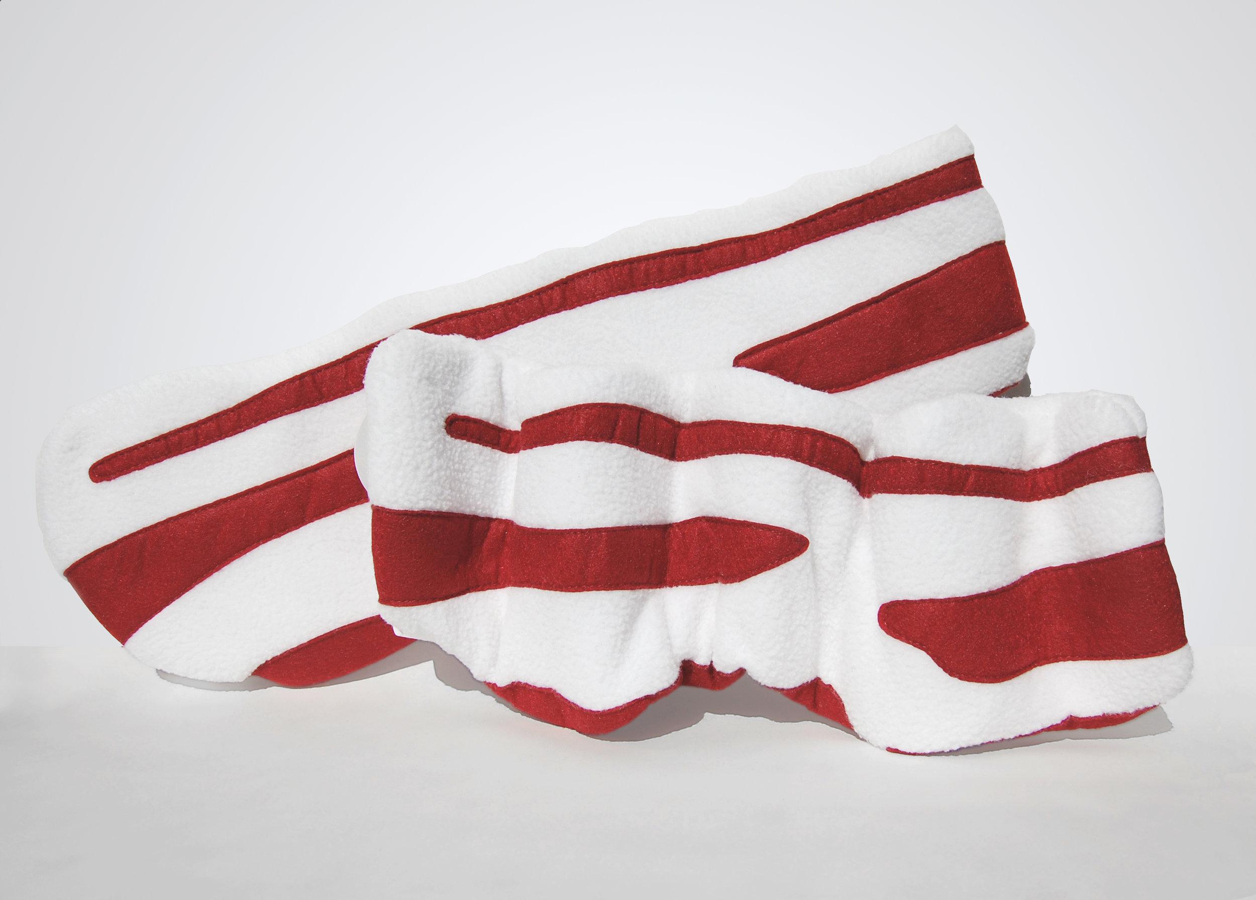 Shapin' Bacon - Fleece, felt, polyester fiberfill stuffing, polyester thread, wire armatureApprox. 15