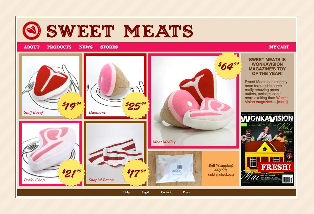 Sweet Meats website - Homepage (2008)1024p x 768p