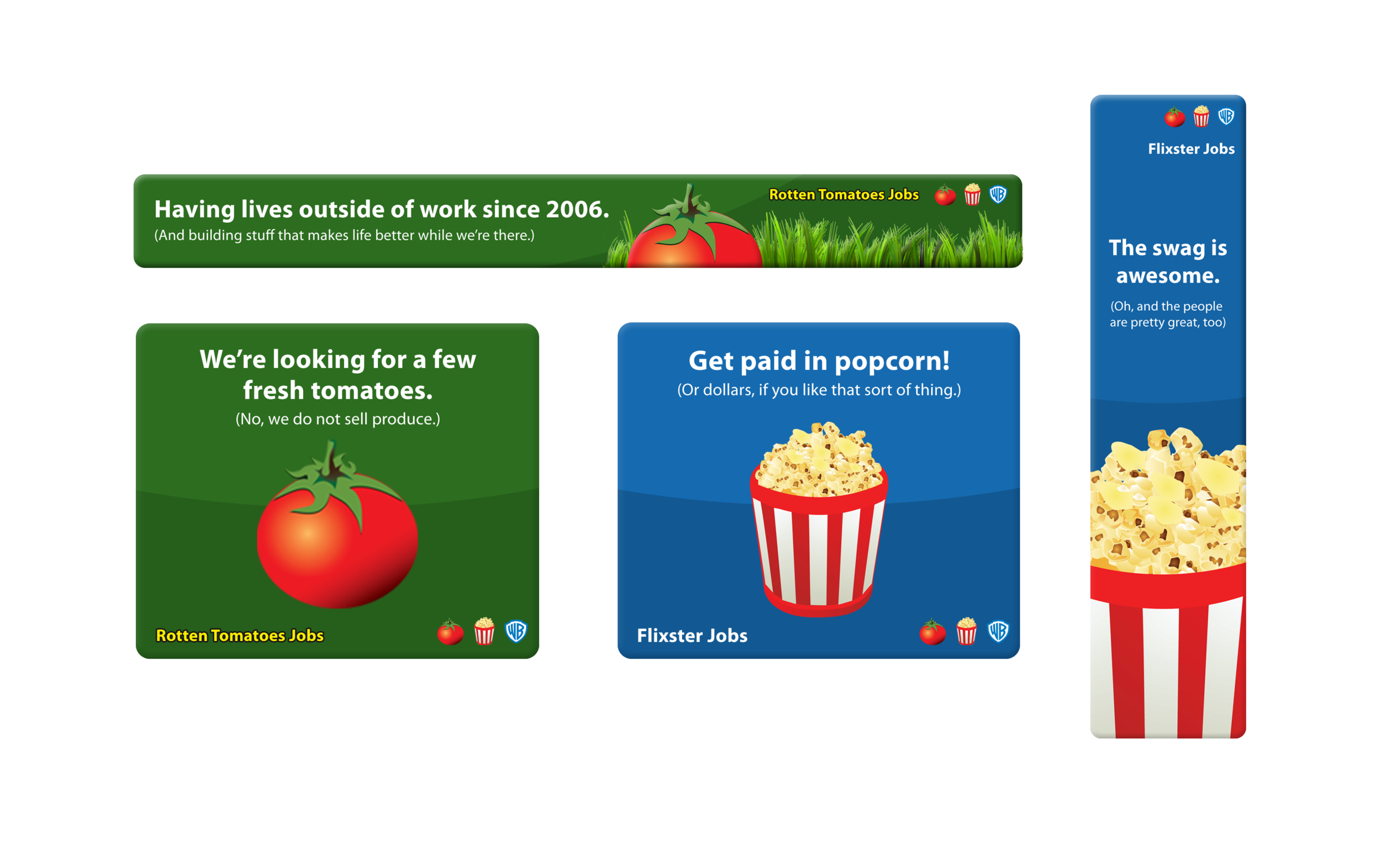 Flixster and Rotten Tomatoes recruiting ads - Designed for standard web banner sizes as well as printable cards. (2013)