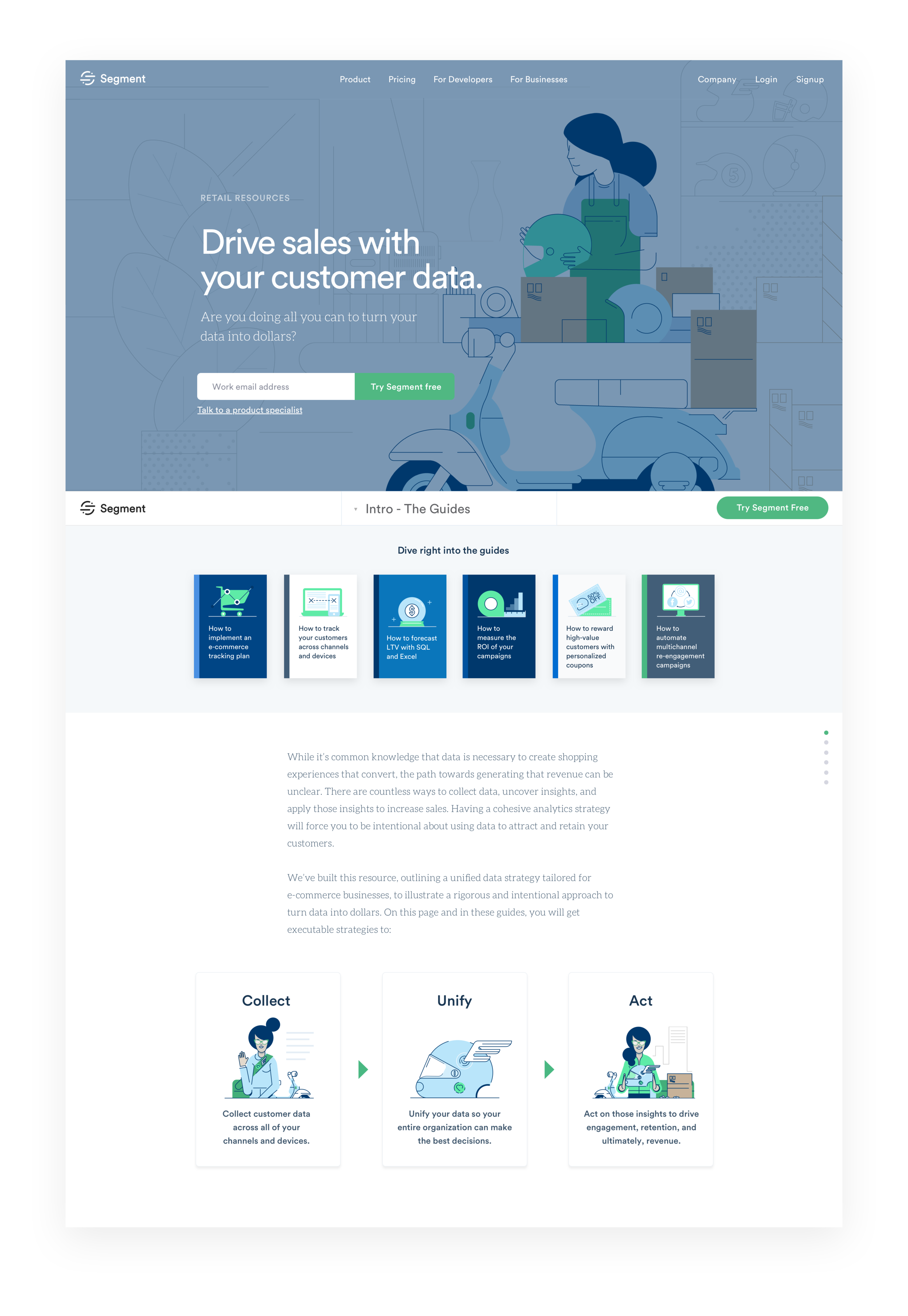 Retail Resource Center - Collection of six data tracking guides for retail businesses. UX with Bradley Haynes, illustrations with Dylan Jones.