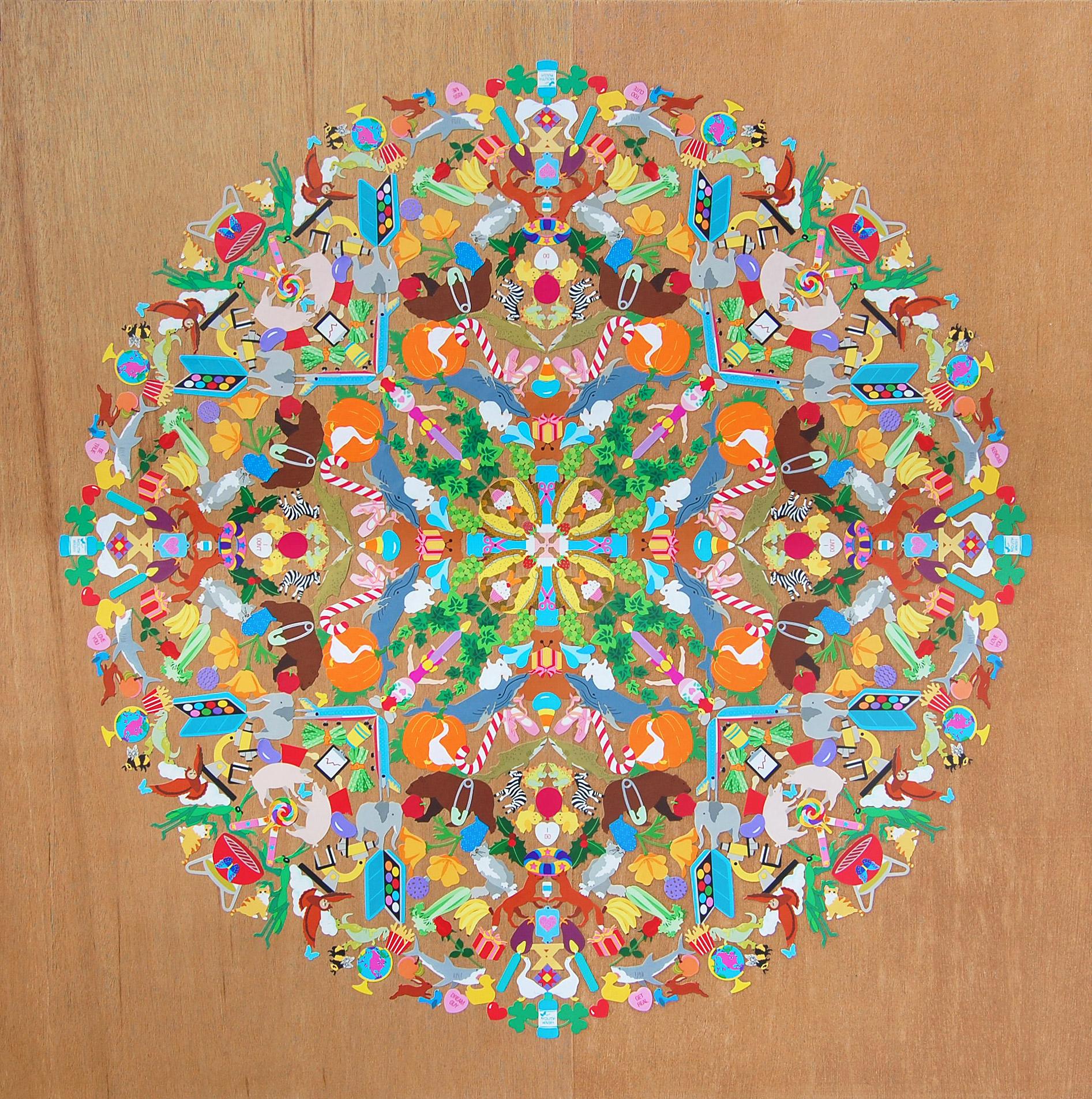 Mrs. Grossman's Mandala - Stickers, plywood, acrylic polymer emulsionApprox. 24