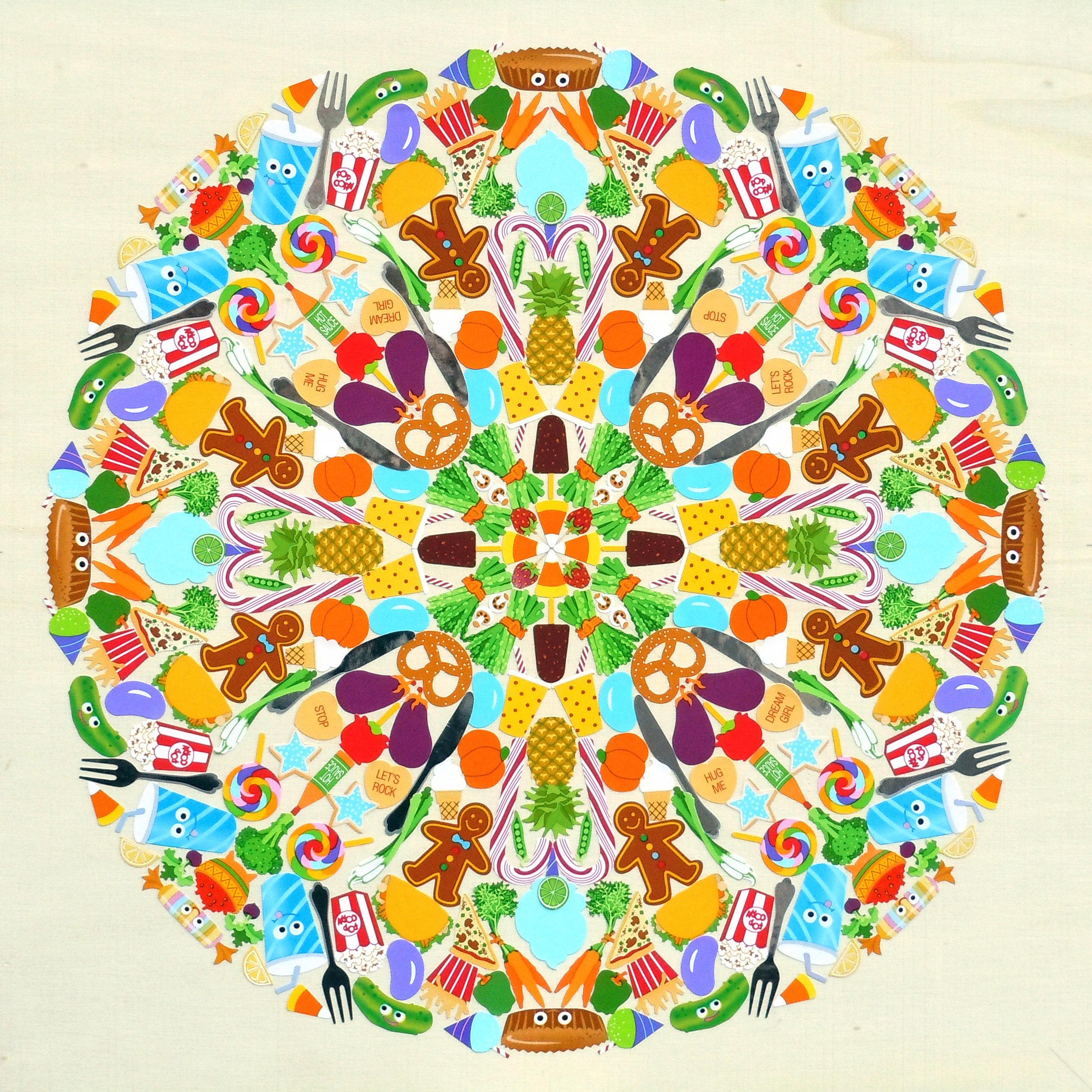 Food Mandala - Mrs. Grossman's stickers, plywood, acrylic polymer emulsionApprox. 12
