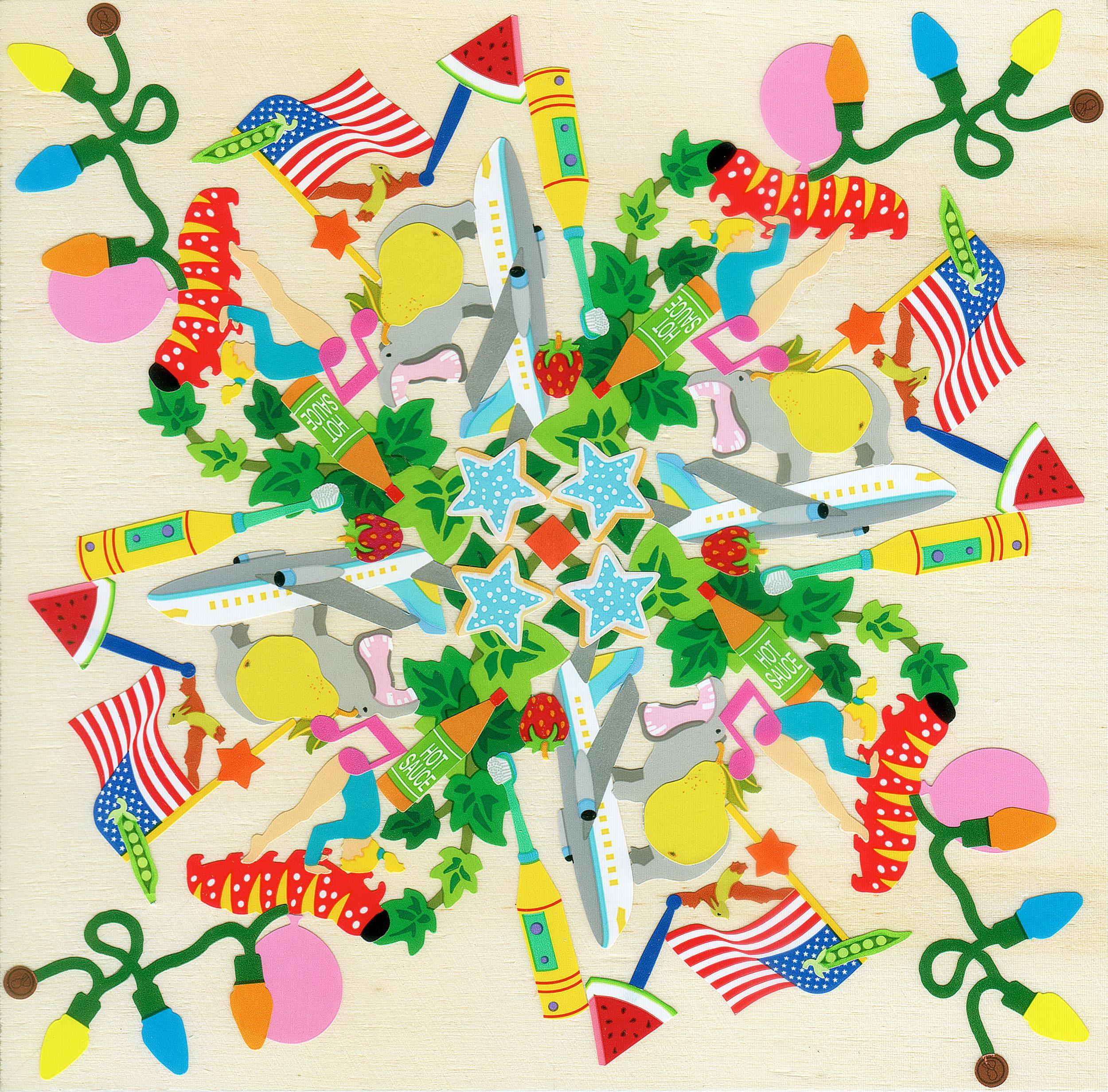 Spiral Mardi Gras - Mrs. Grossman's stickers, plywood, acrylic polymer emulsionApprox. 6