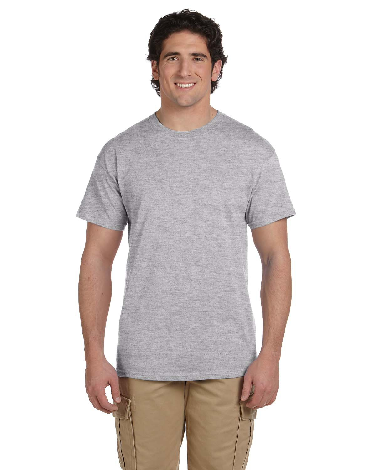 Gildan g200 - This is the most affordable t-shirt for fund raising, promotional events & giveaways. They have a classic fit, and are made of 100% cotton. They wash well and hold up great. Don't think because they are the cheapest option that they aren't nice, this has been our best seller for years. Check out the over 60 colors available, and get a price quote here.