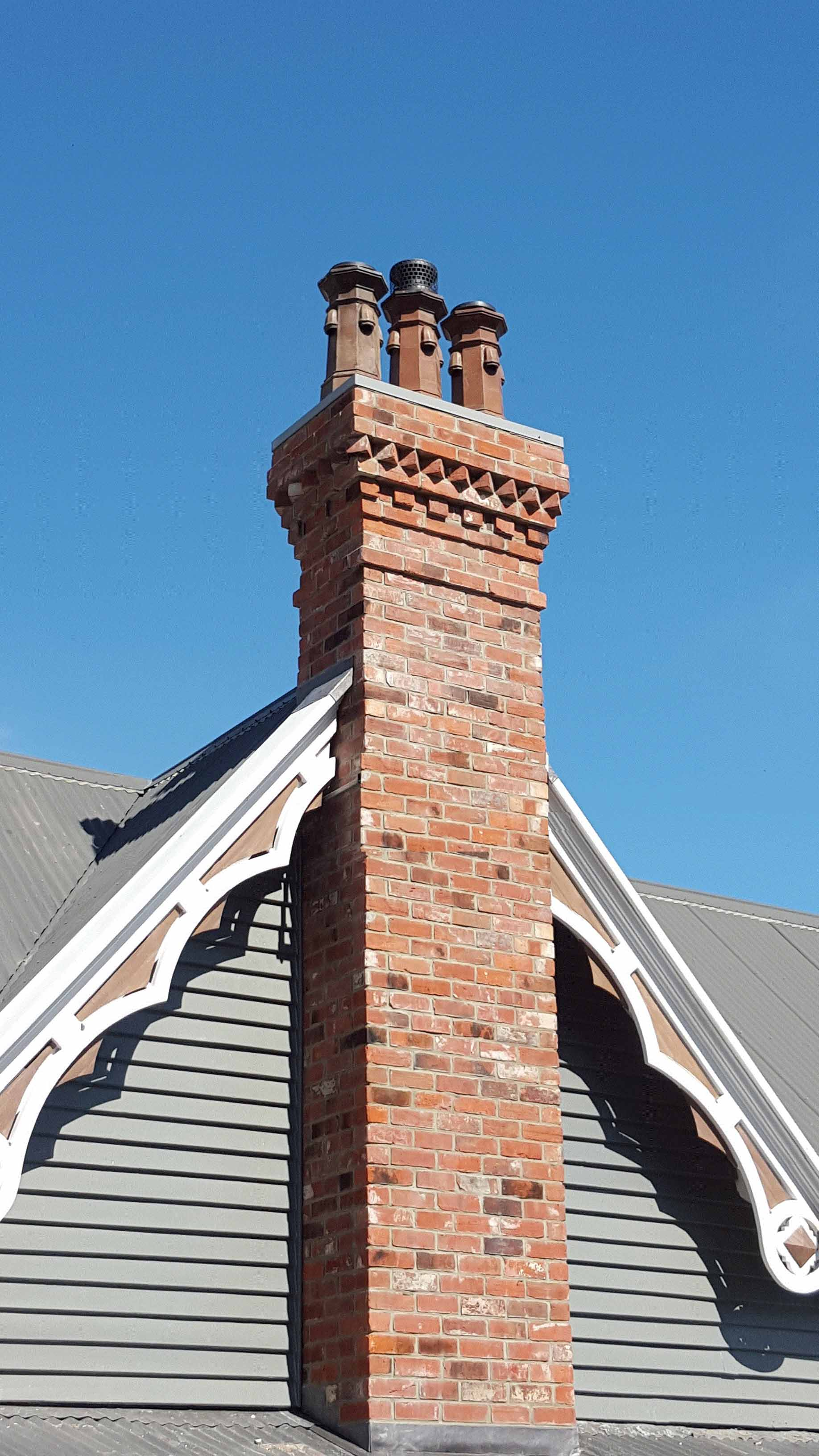 Style 3.  This style is used in the repair of damaged chimneys, part re-builds or for heritage replacements. This style of chimney is usually mounted on ceiling level or first floor level.