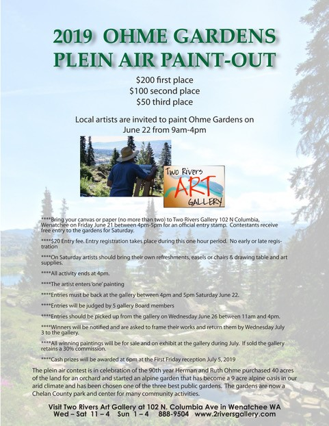 LOCAL ARTISTS - JOIN US SATURDAY, JUNE 22 at OHME GARDENS for a fun day of PLEIN AIR PAINTING. You must bring your canvas or panels to Two Rivers Gallery Friday, June 21 between 4:00-5:00pm to get an official entry stamp. Read the details carefully on the above poster. See you there!!