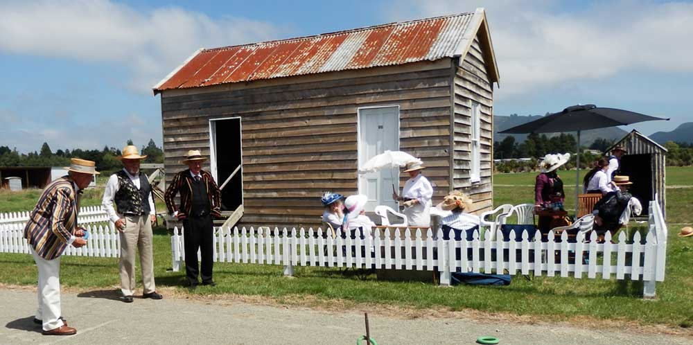 Members of the Waimate Edwardian Heritage Group enjoy a game of quoits at Bushtown.